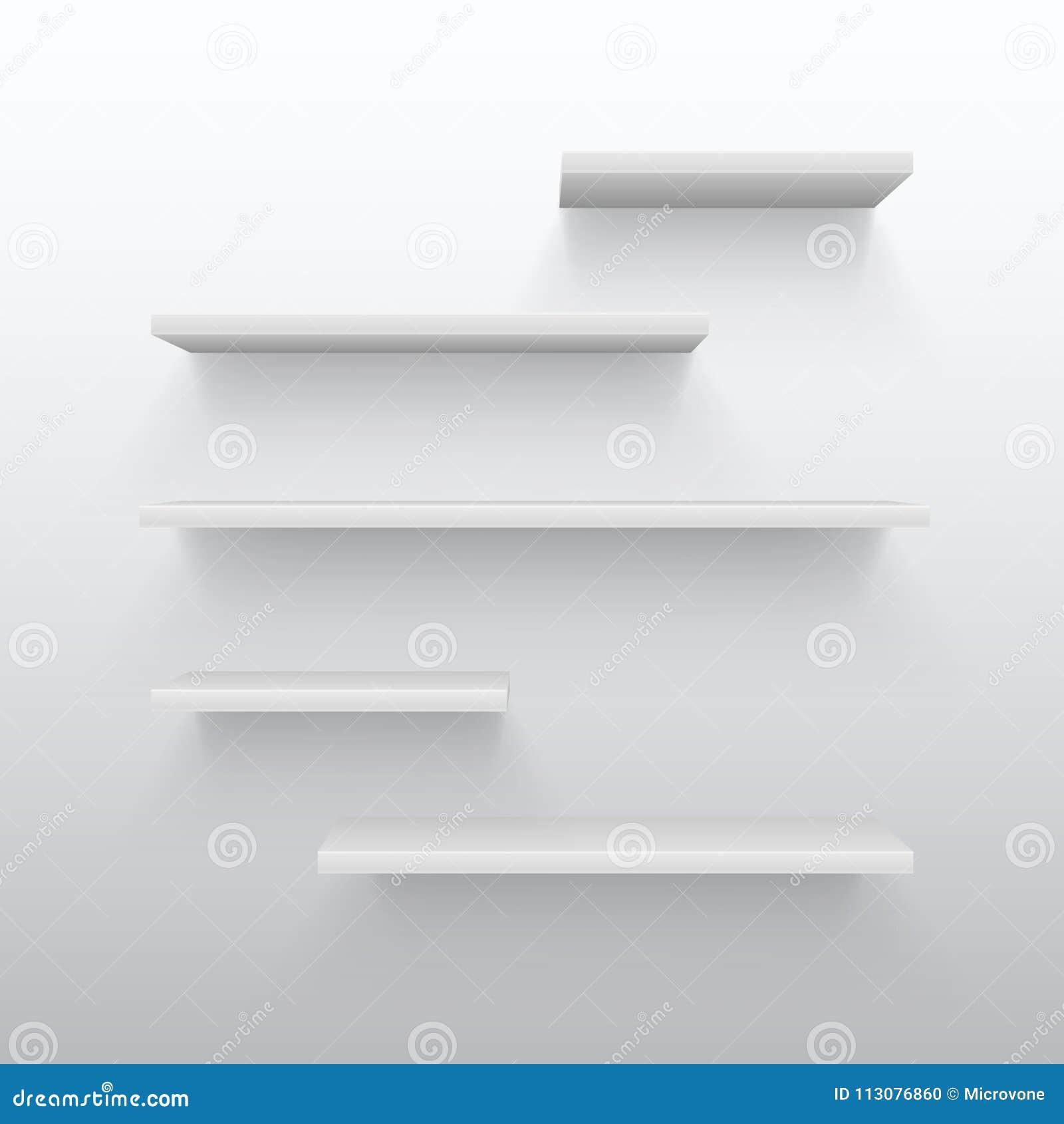 Pusty Biały Handel 3d Odkłada Z Cieniem Na ścianie Pusty