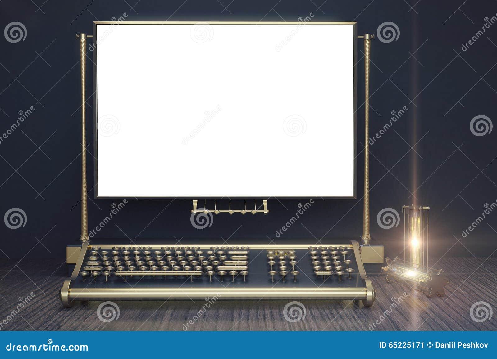 Pusty biały papier z rocznika candlestick w ste i maszyna do pisania