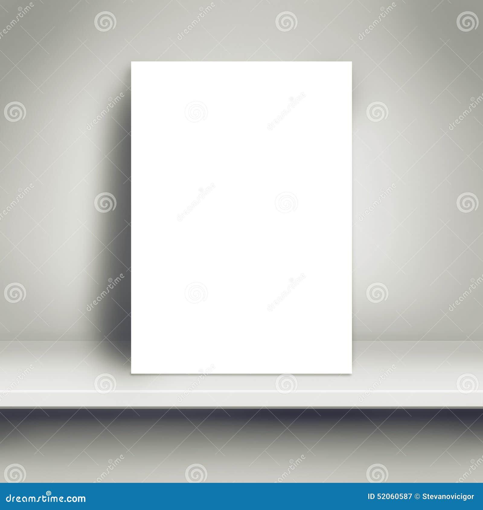 Pusty Biały plakata egzamin próbny Up na Białej półce