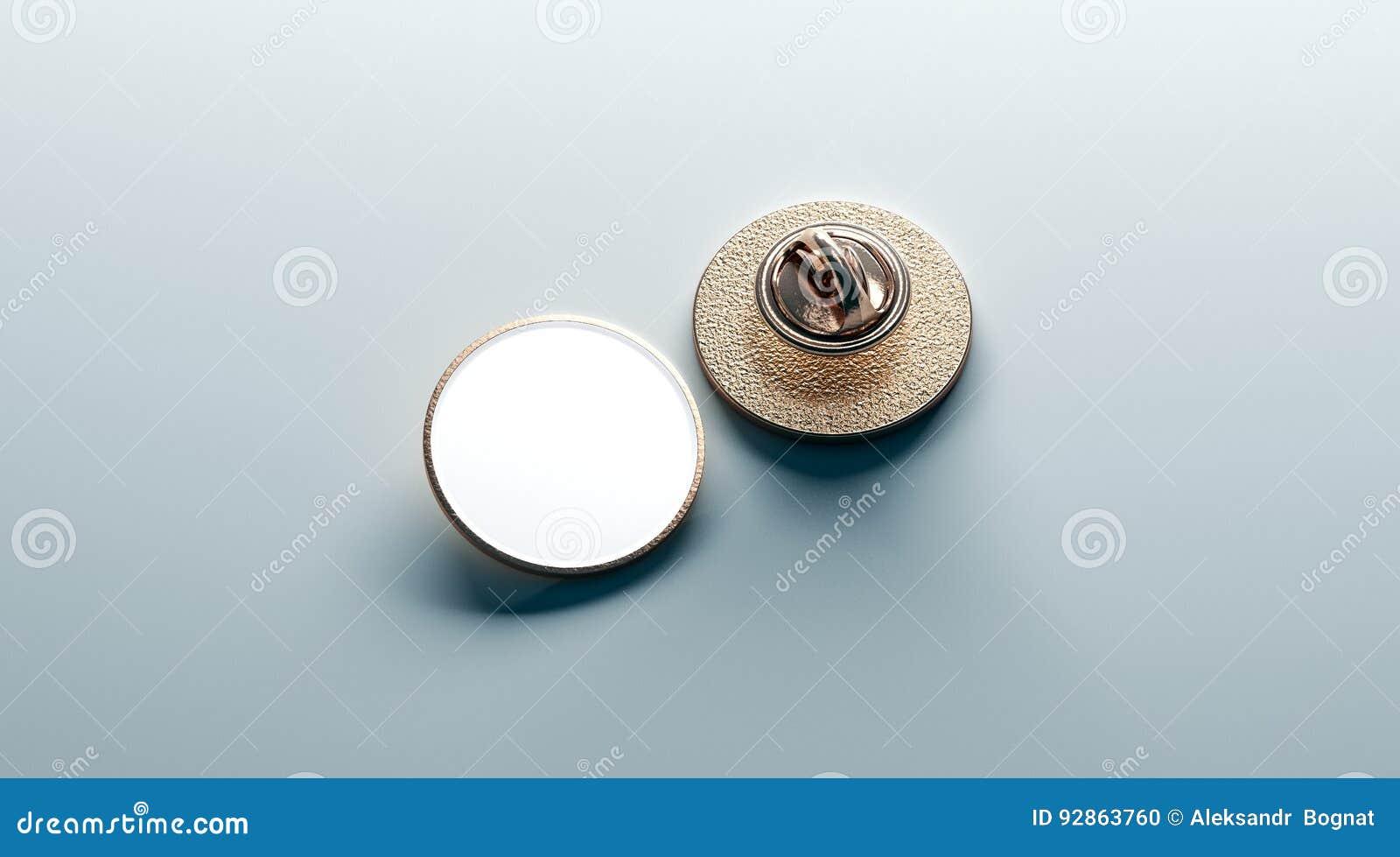 Pusty biały round złocisty lapel odznaki egzamin próbny up, stać na czele z powrotem