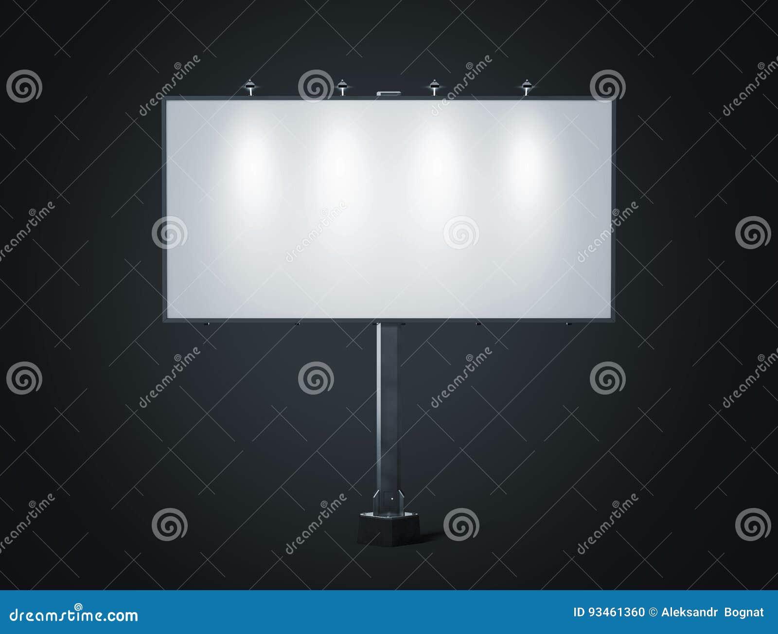 Pusty biały sztandaru mockup na miasto billboardzie przy nocą