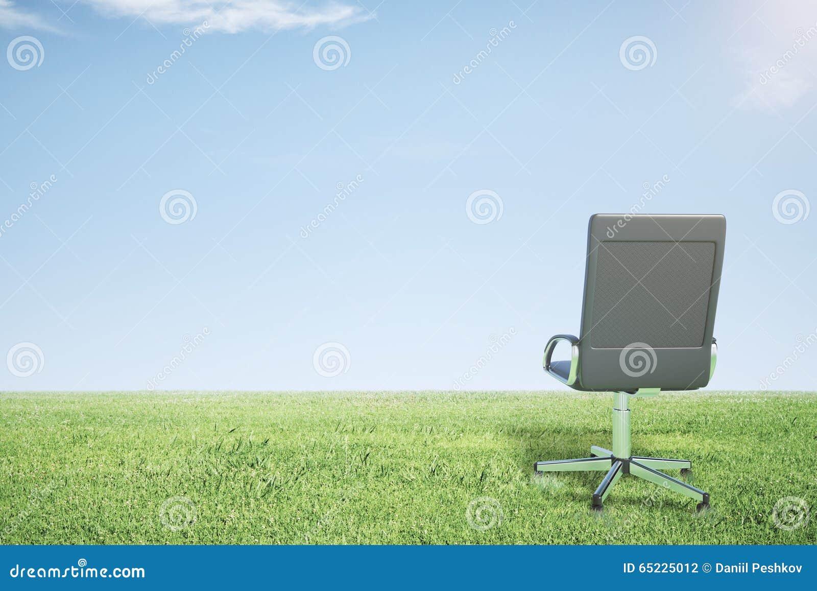 Pusty biurowy krzesło na zielonej trawie i niebieskim niebie