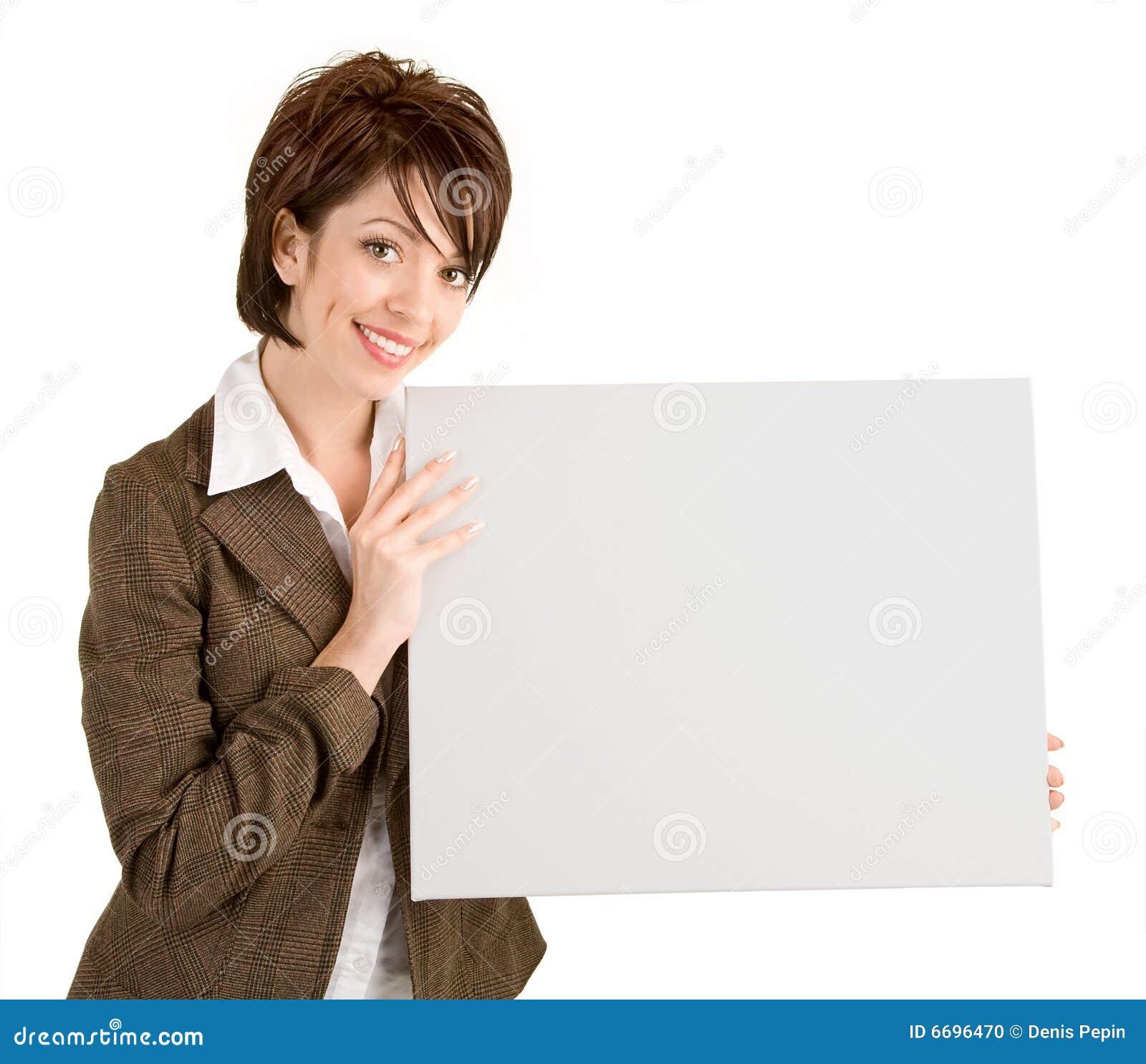 Pusty bizneswomanu mienia znaka biel
