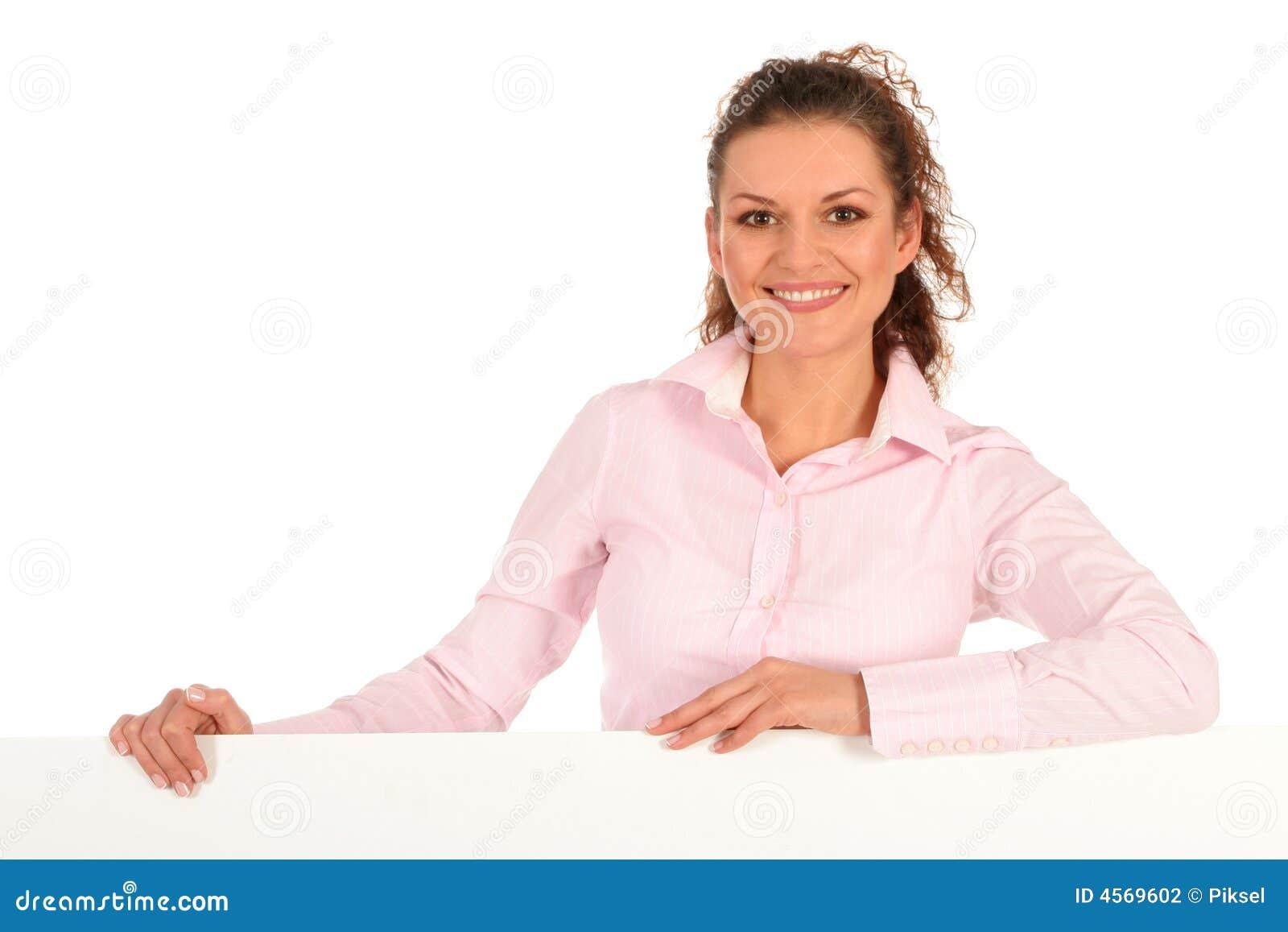Pusty bizneswomanu plakat gospodarstwa