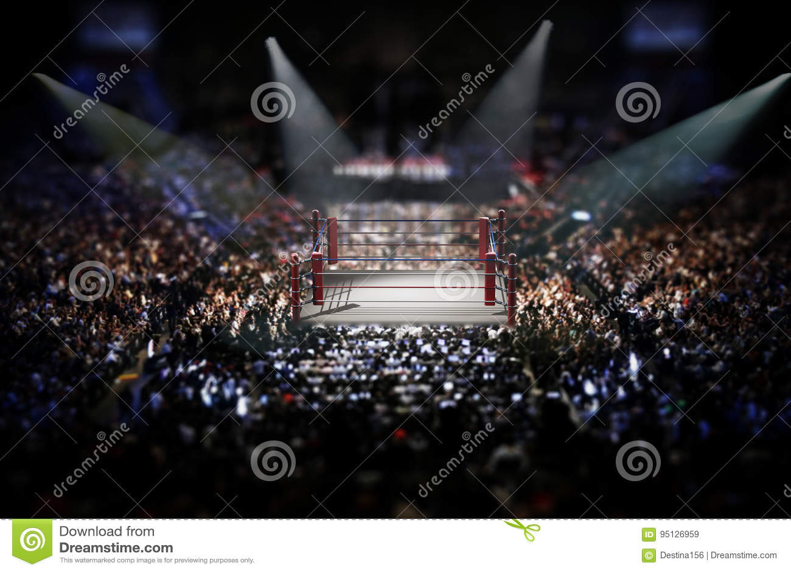 Pusty bokserski pierścionek otaczający z widzami ilustracja 3 d