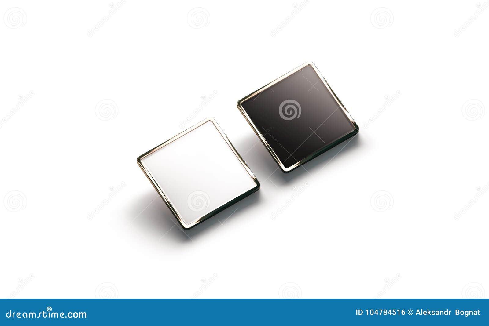 Pusty czarny i biały kwadratowy złocisty lapel odznaki mockup