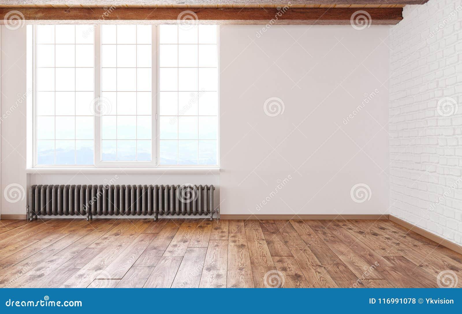 Pusty izbowy loft wnętrze z dużymi nadokiennymi białymi ścianami, cegłami, drewnianymi promieniami i podłoga, 3d odpłacają się il