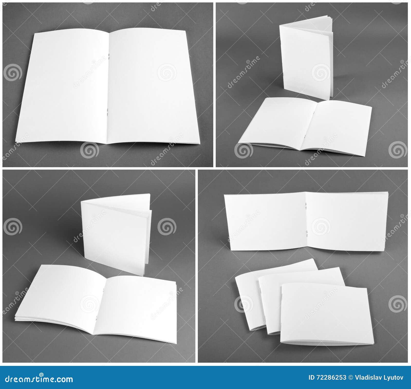 Pusty katalog, broszurka, magazyny, książka egzamin próbny up