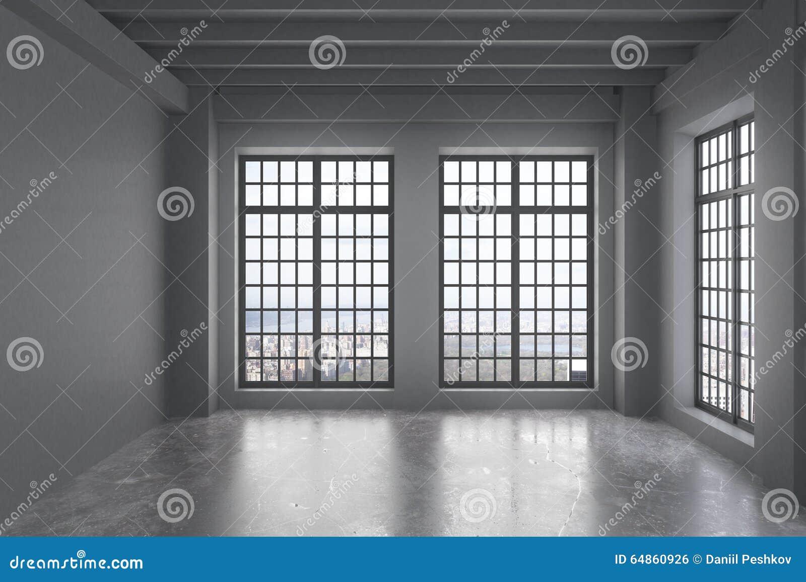Pusty loft pokój z popielatą ścianą, duzi okno z miasto widokiem