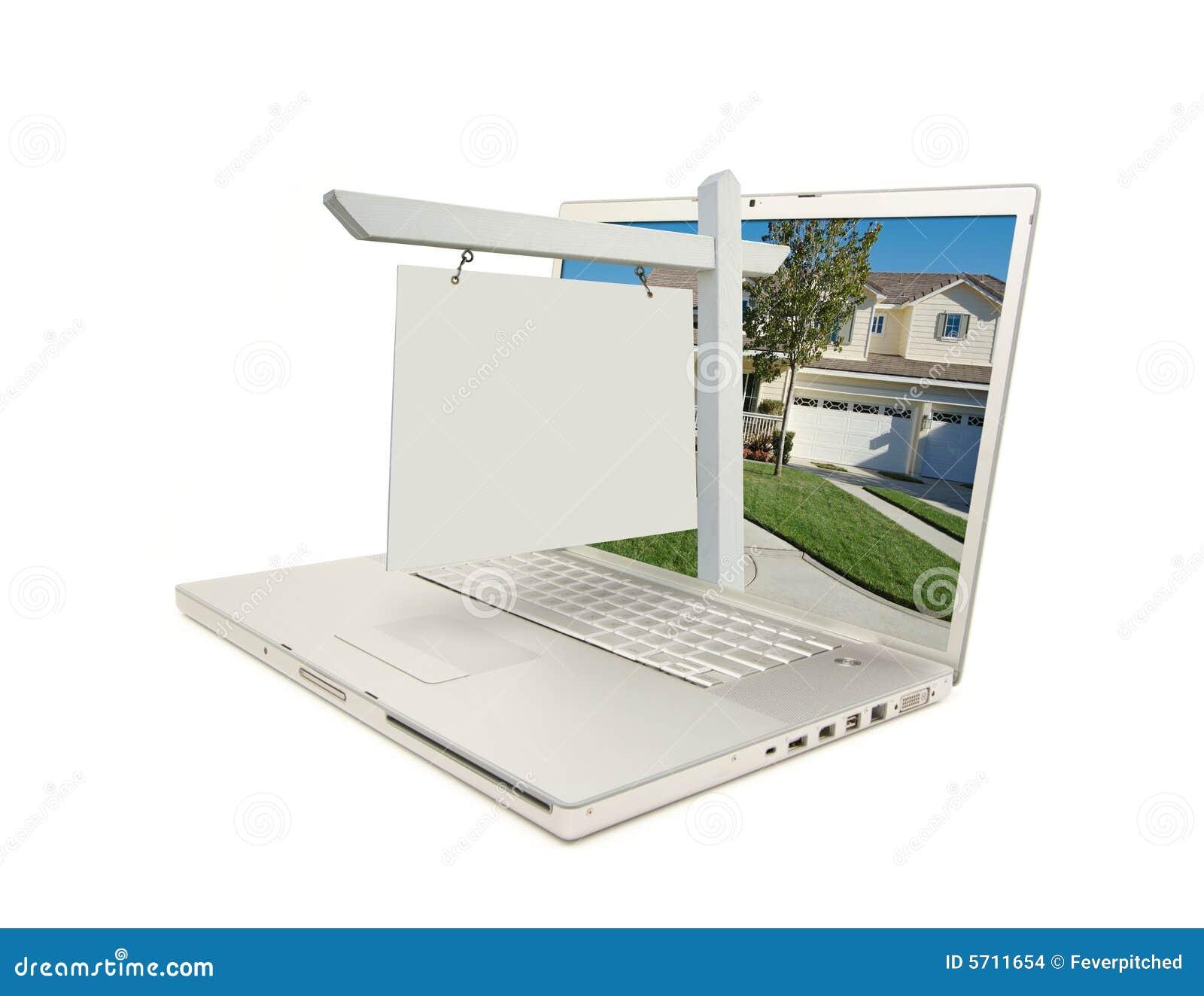 Pusty nieruchomości laptopa prawdziwego znaku