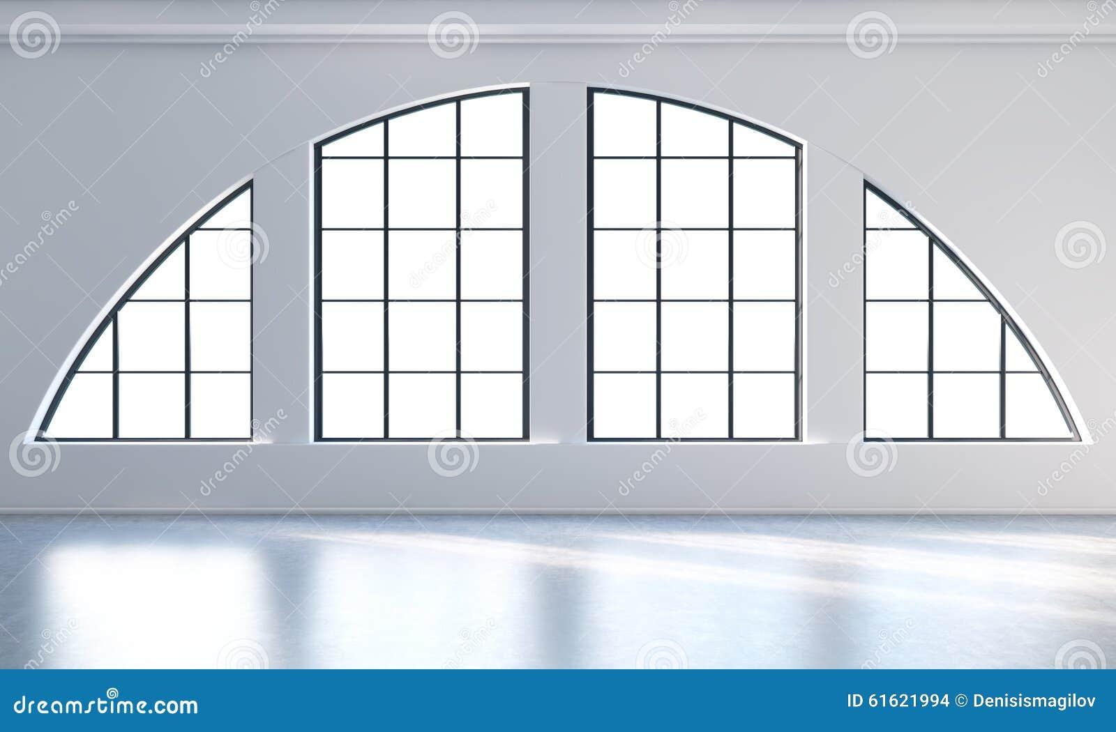 Pusty nowożytny jaskrawy i czysty loft wnętrze Ogromni panoramiczni okno z biel kopii bielu i przestrzeni ścianami Pojęcie luksus