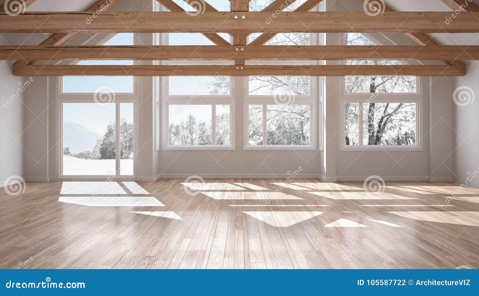 Pusty pokój w luksusowym eco domu, parkietowej podłoga tr i drewnianym dachu,