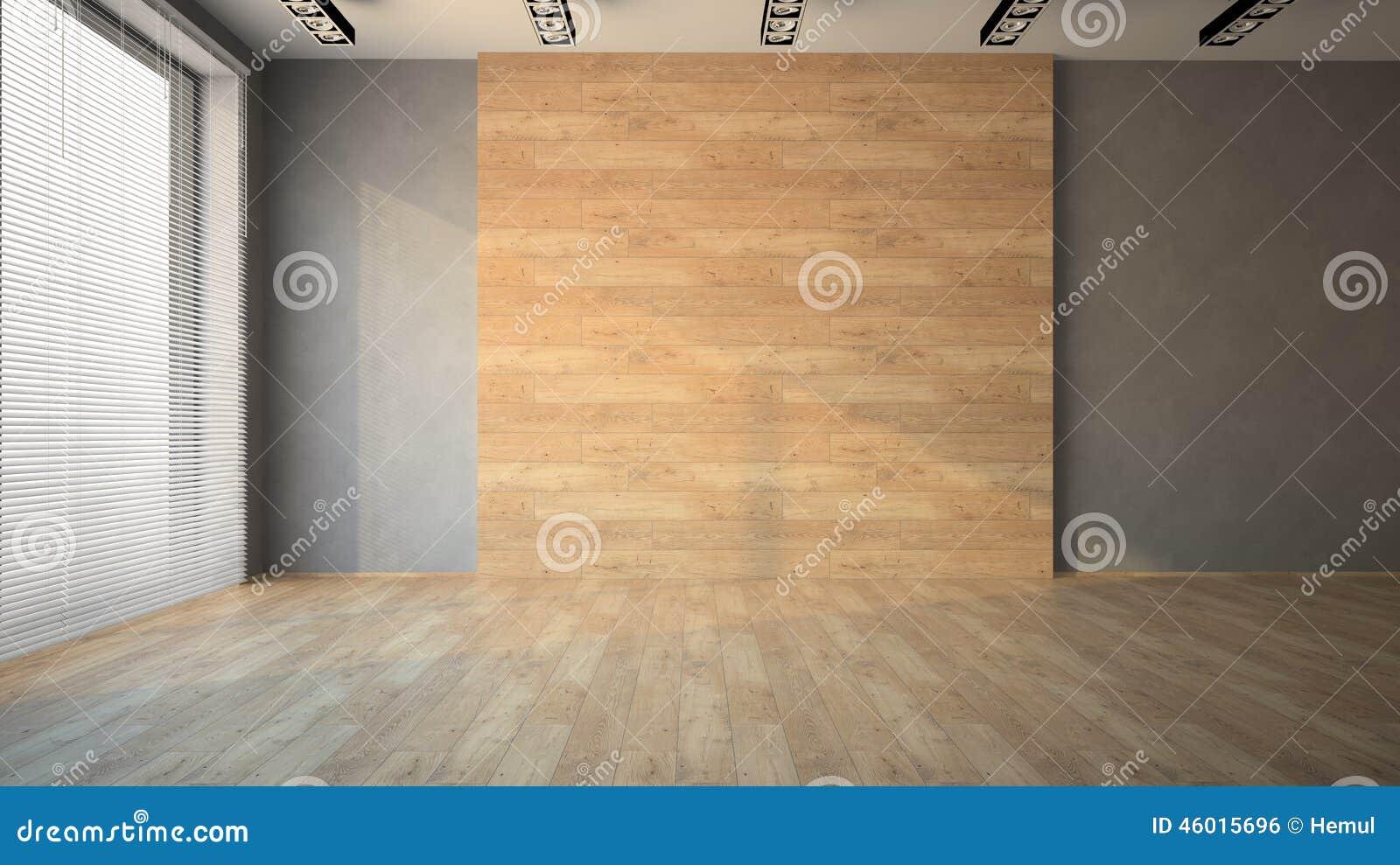 Pusty pokój z drewnianą ścianą