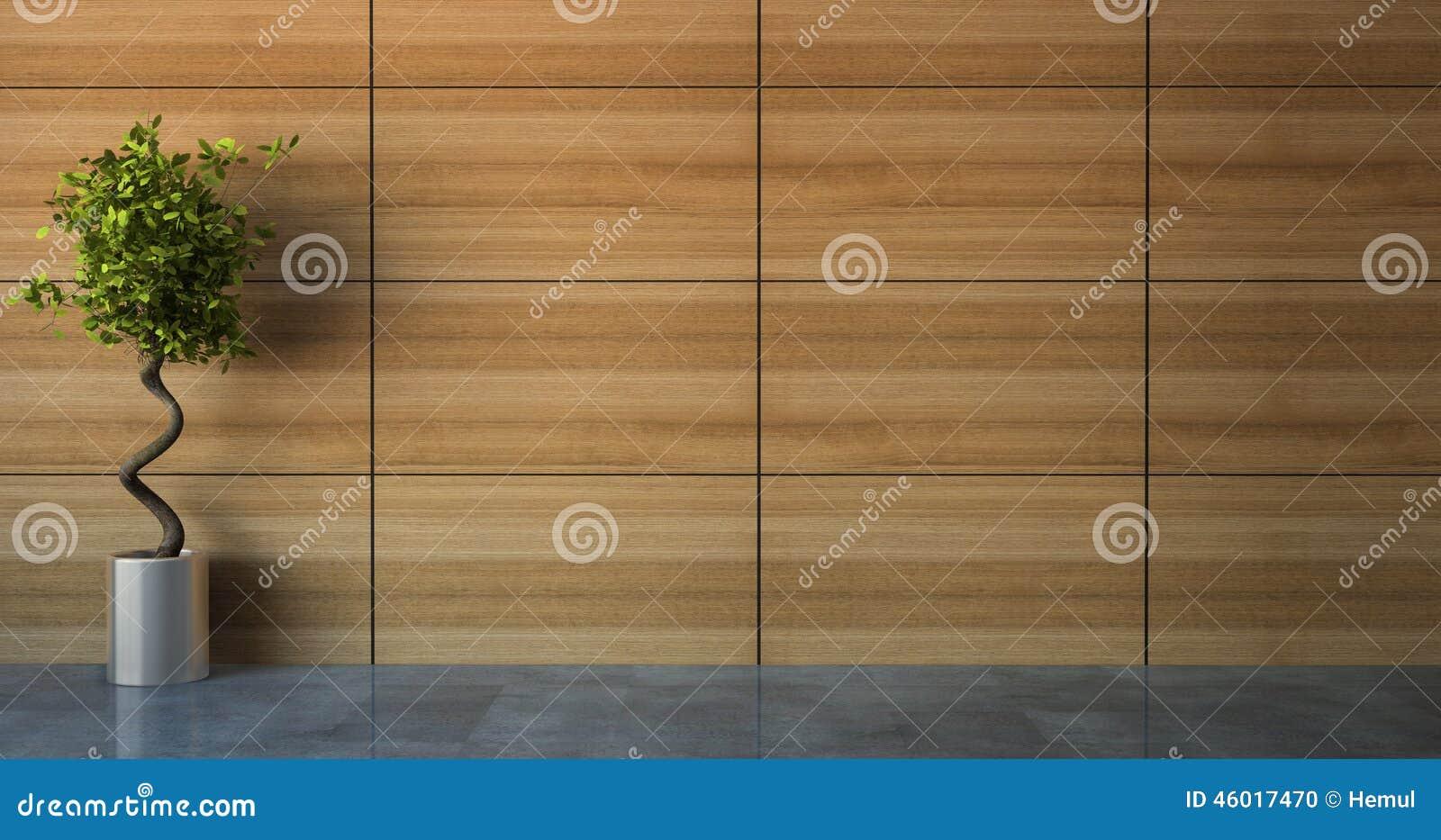 Pusty pokój z drewno ścianą