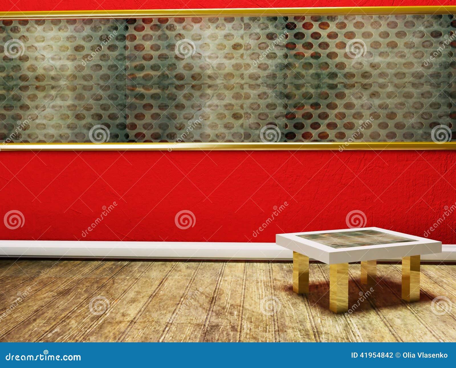 Pusty pokój z małym stołem