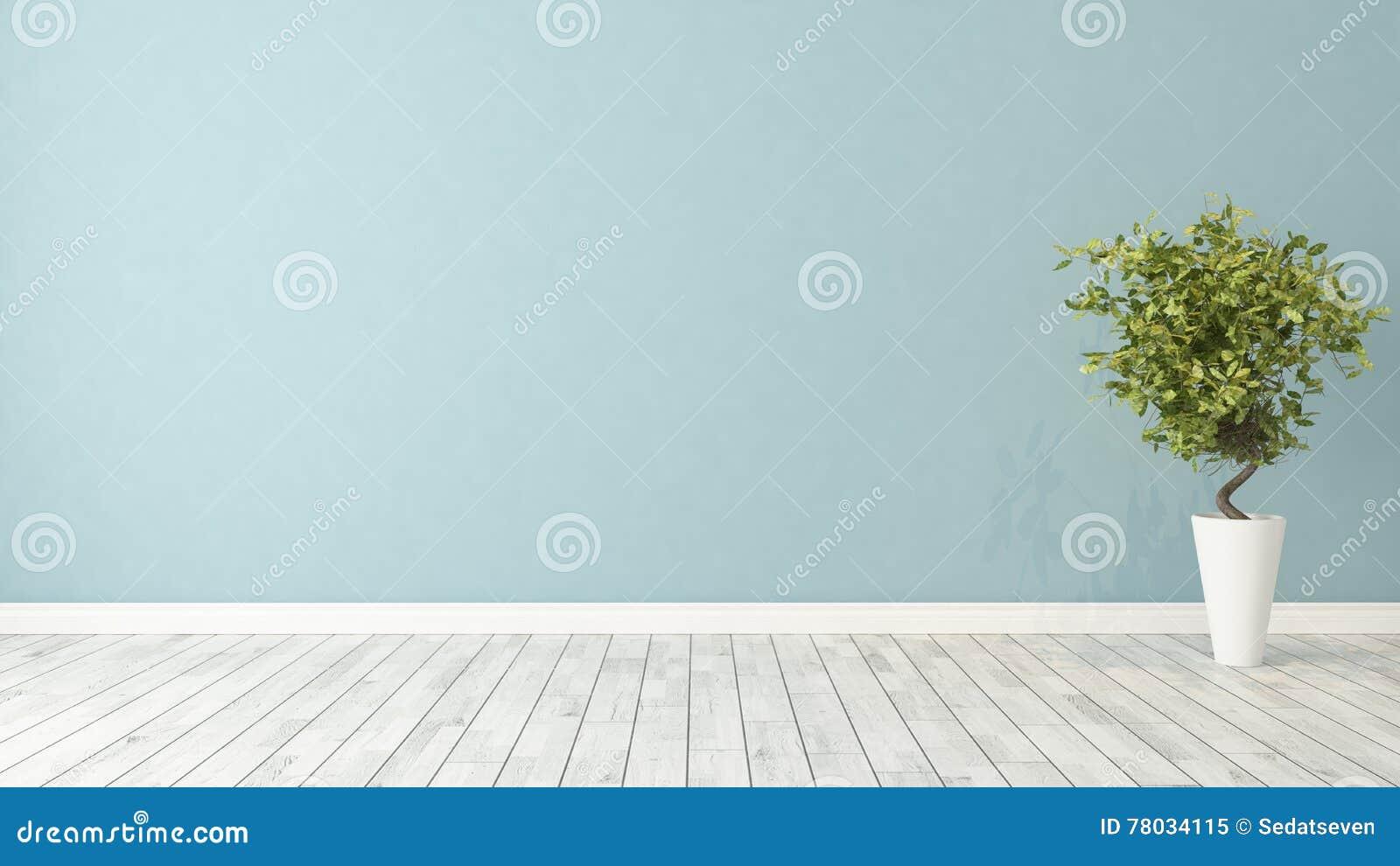 Pusty pokój z rośliną