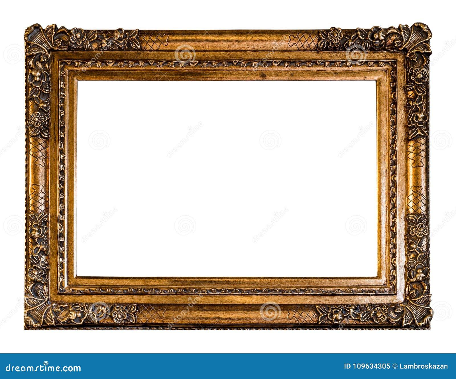 Pusty rocznik Rzeźbił Drewnianą ramę w Złotym kolorze z ścinkiem,