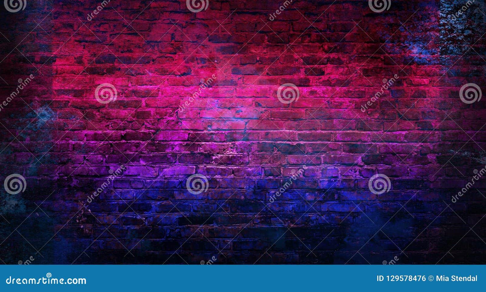 Pusty tło stara ściana z cegieł, tło, neonowy światło