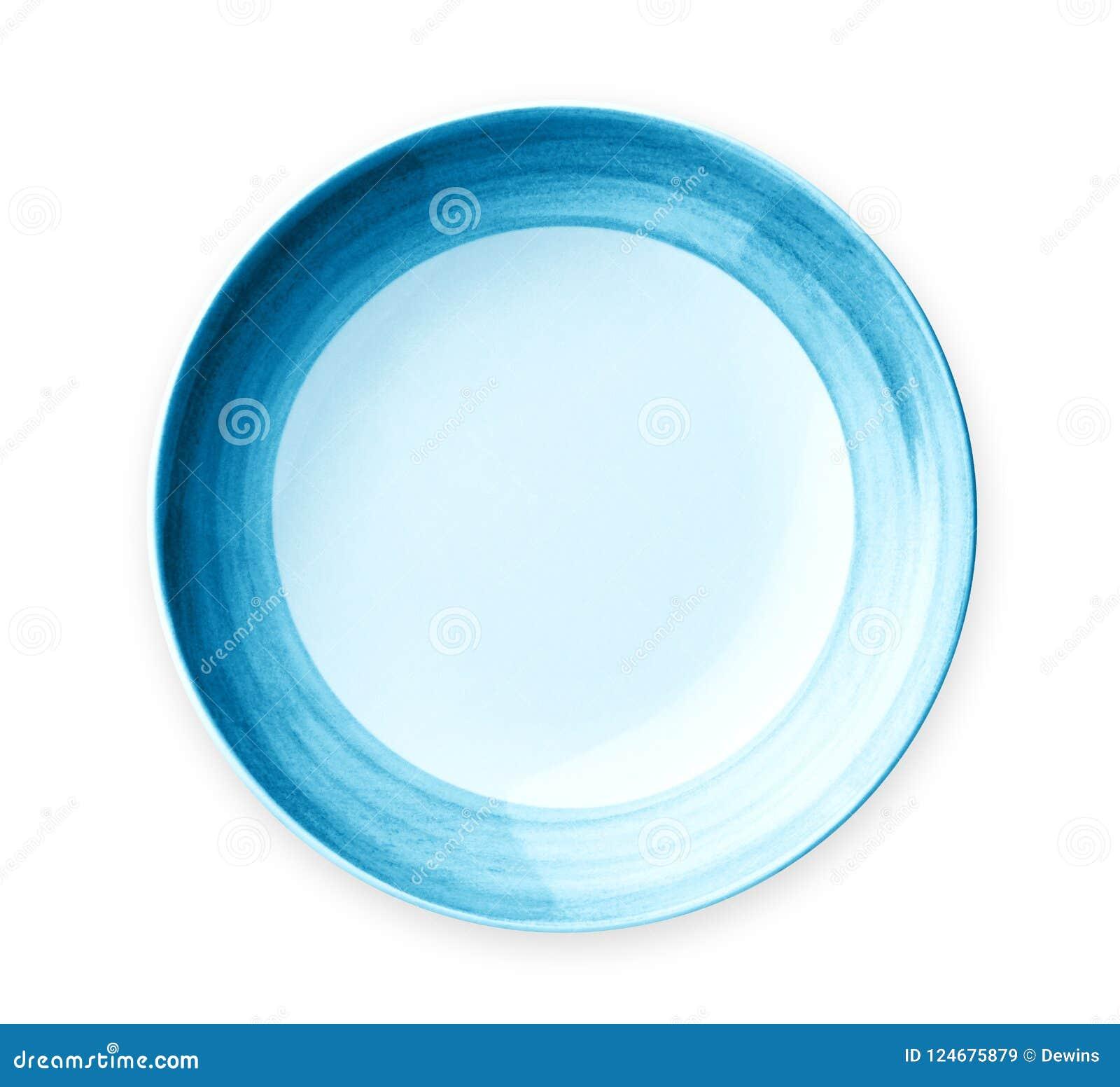 Pusty talerz z błękita wzoru krawędzią, Ceramiczny talerz z spirala wzorem na białym tle, odizolowywającym