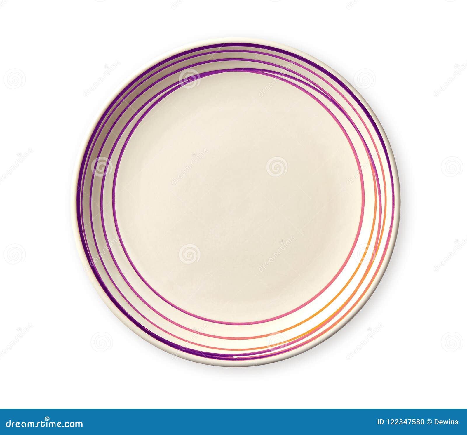 Pusty talerz z menchia wzoru krawędzią, Ceramiczny talerz z spirala wzorem w akwareli projektuje, widok odizolowywający na bielu