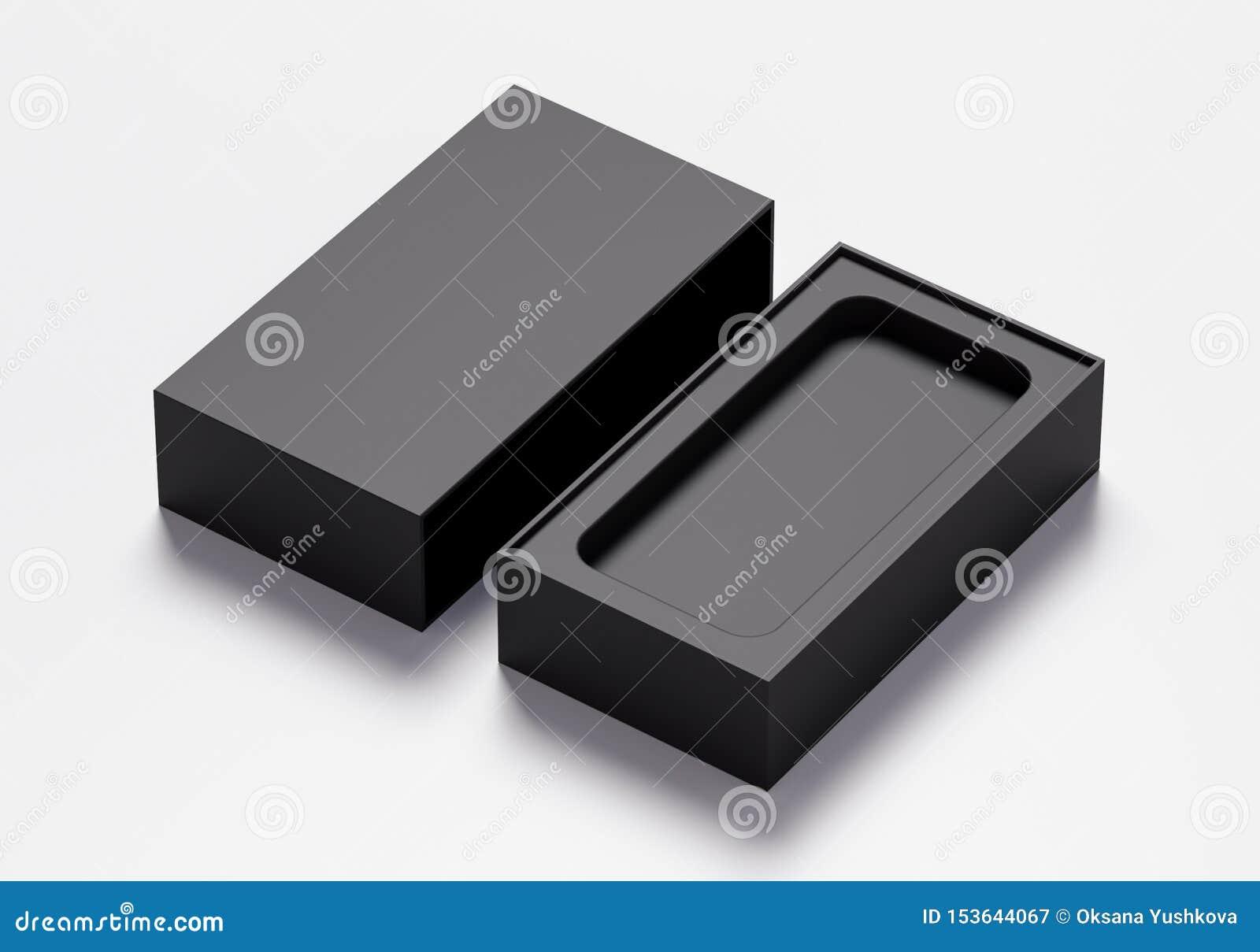 Pusty telefonu pudełko w czarnym kolorze - 3D ilustracja