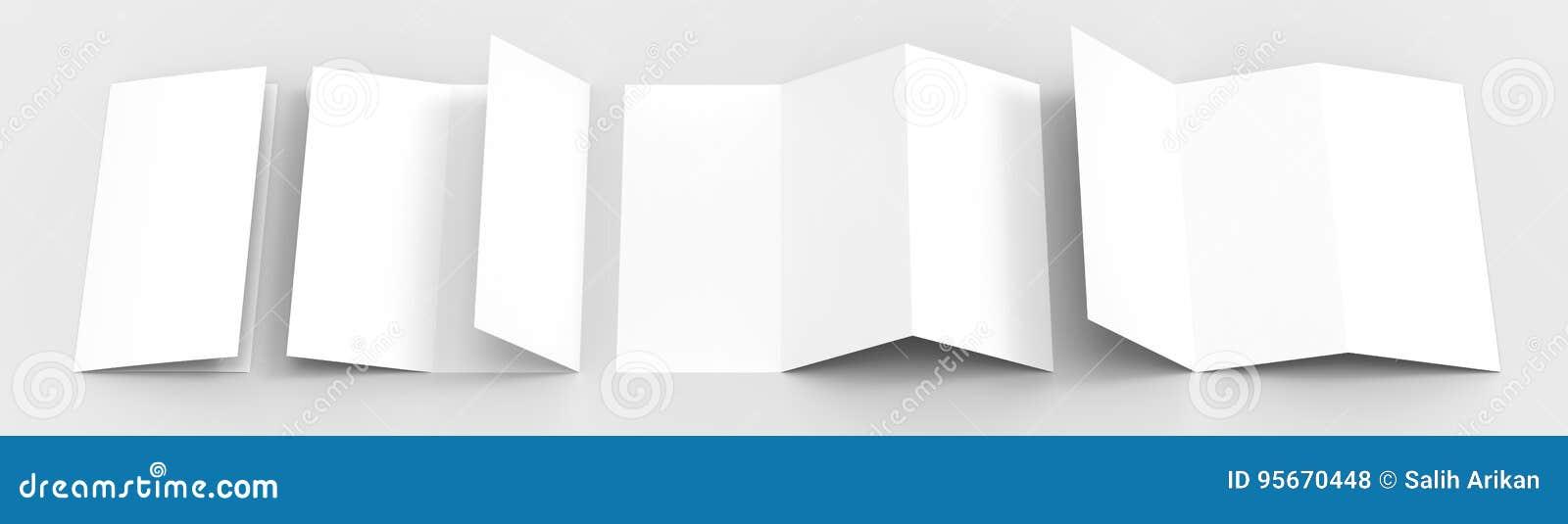A4 Pusty trifold papierowy broszurka egzamin próbny na miękkim szarym tle