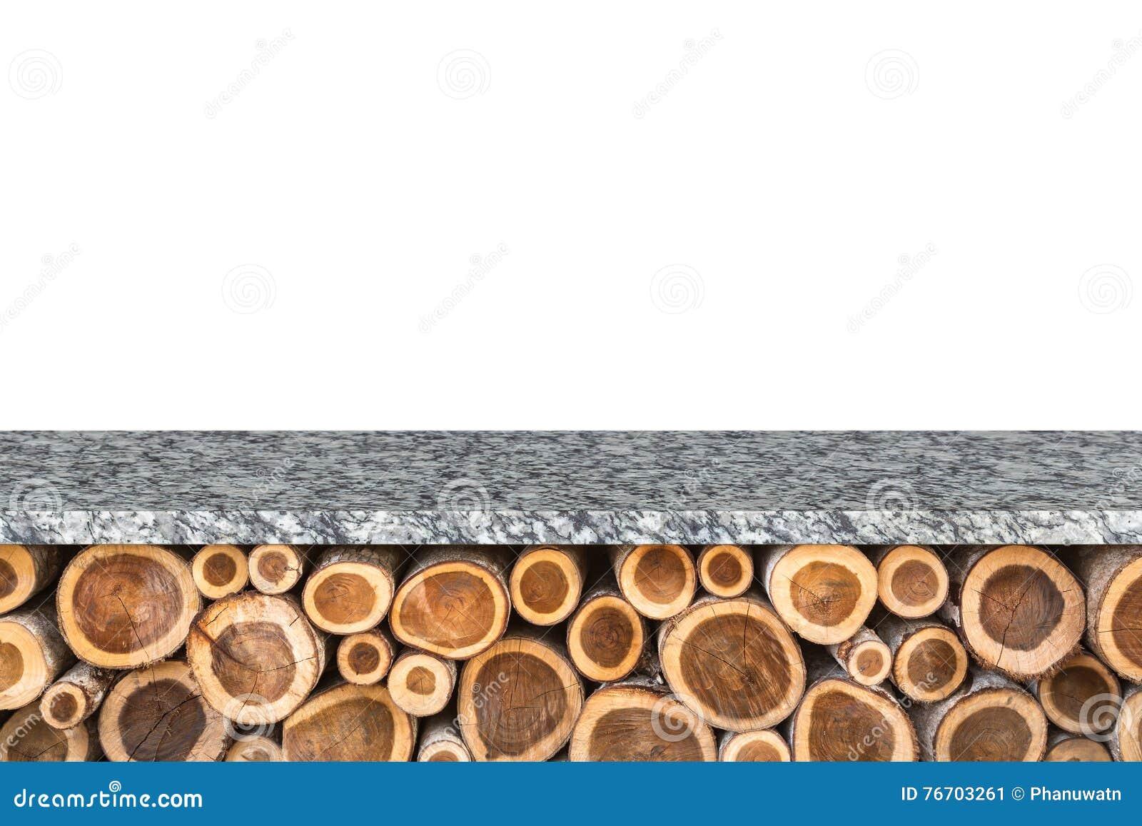 Pusty wierzchołek granitu kamienia stół odizolowywający na białym tle