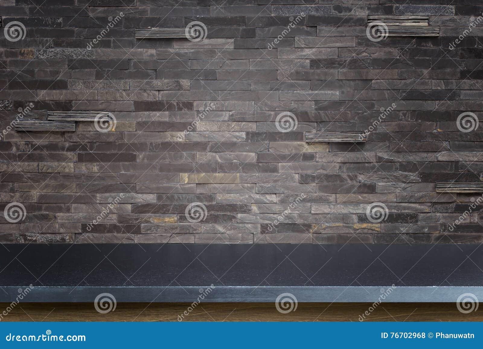 Pusty wierzchołek naturalny kamień stołowej i kamiennej ściany tło