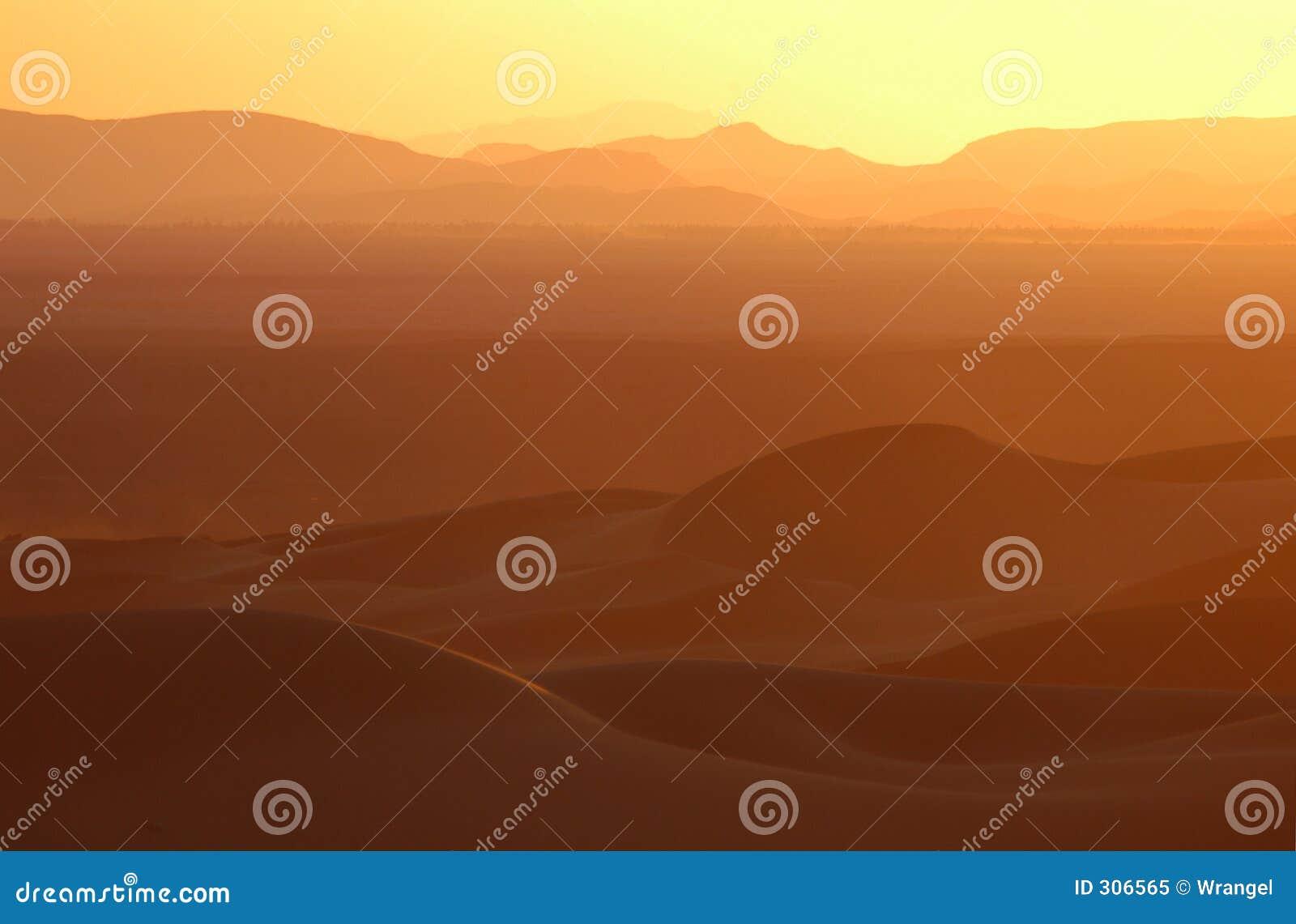 Pustynia Sahara nad zachodem słońca