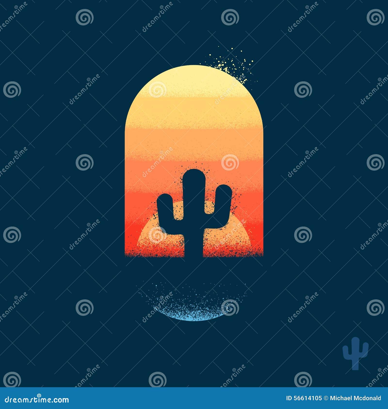 Pustynny kaktusowy emblemat