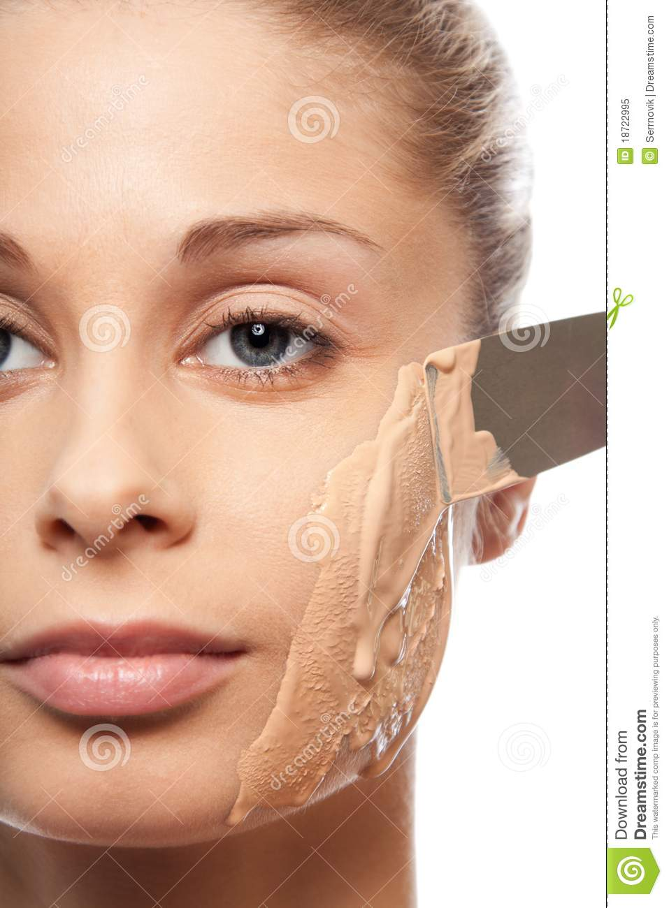 Put On Makeup Foundation With Spatula Stock Image