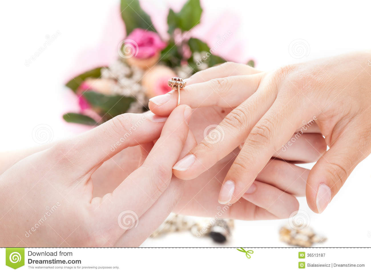 Put a ring on it stock image. Image of diamond, flowers - 36513187