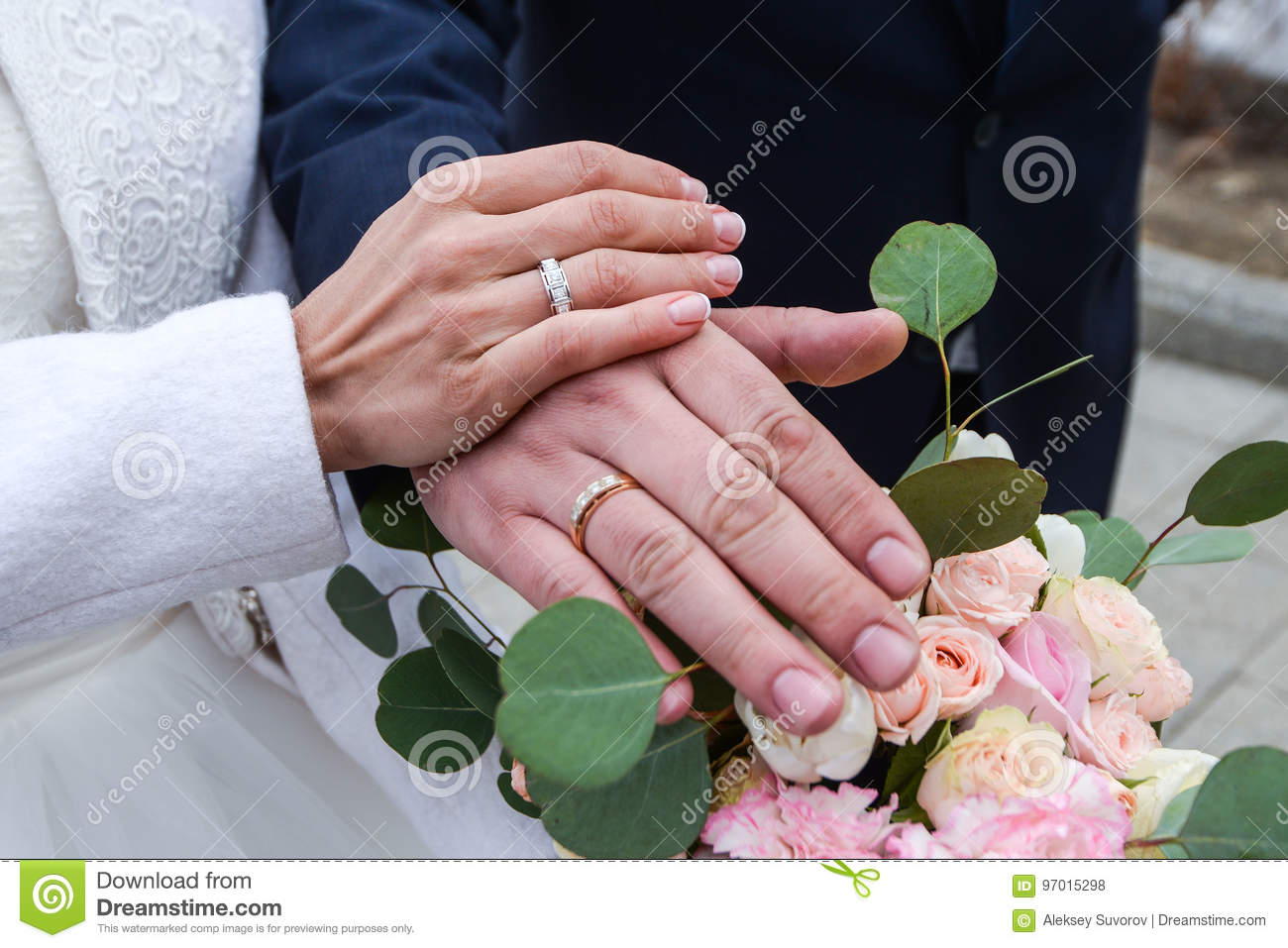 He Put The Wedding Ring On Her Stock Photo - Image of marriage ...