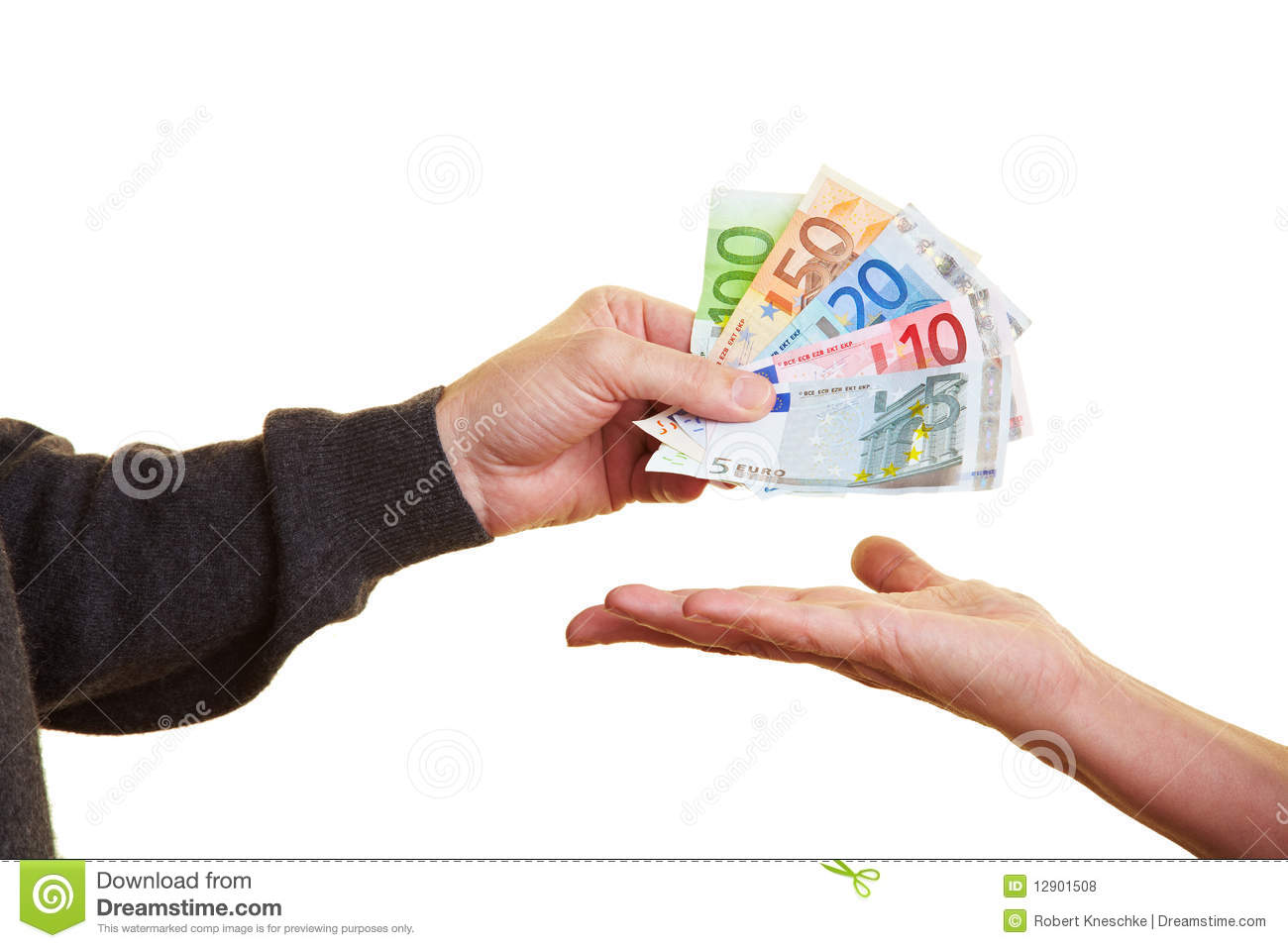 Putting banknotes on hand