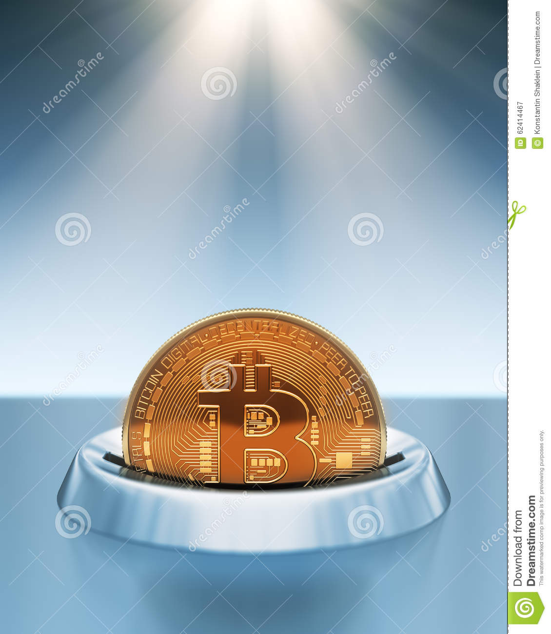 putting bitcoin into coin slot in the rays of light stock. Black Bedroom Furniture Sets. Home Design Ideas