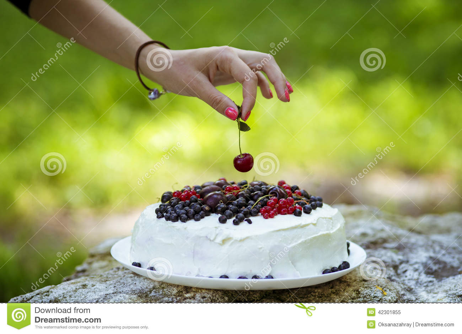Putting Cherry On The Cake Stock Photo Image 42301855