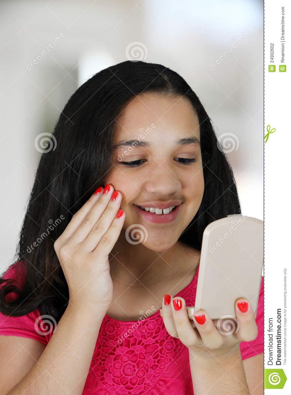 Putting On Makeup Stock Photo. Image Of Pretty, Makeup