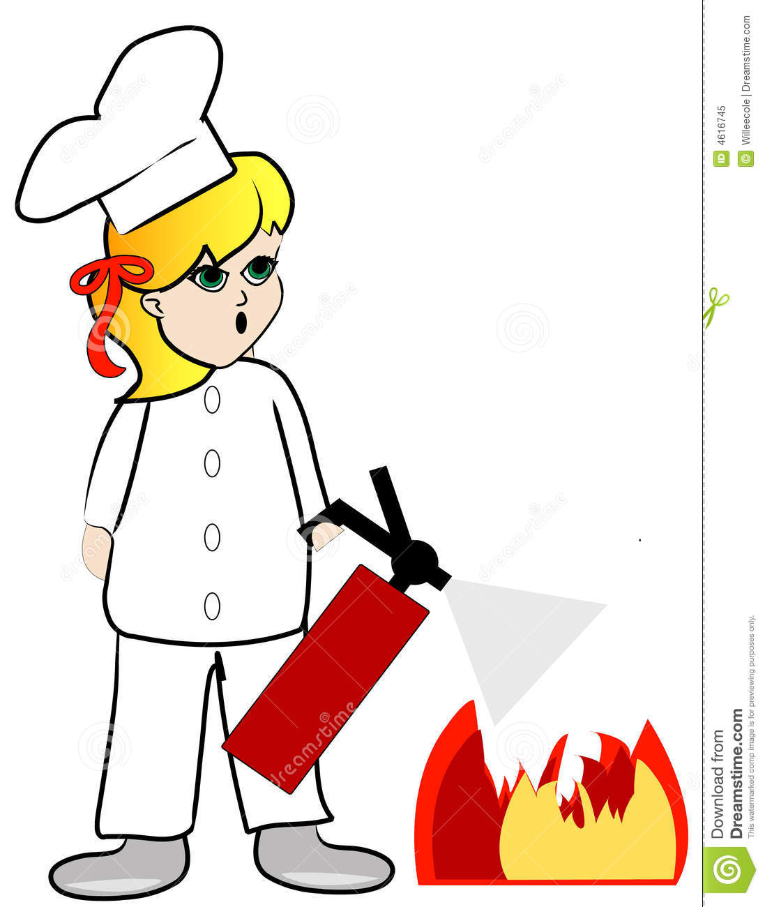 putting out kitchen fire stock vector illustration of extinguisher
