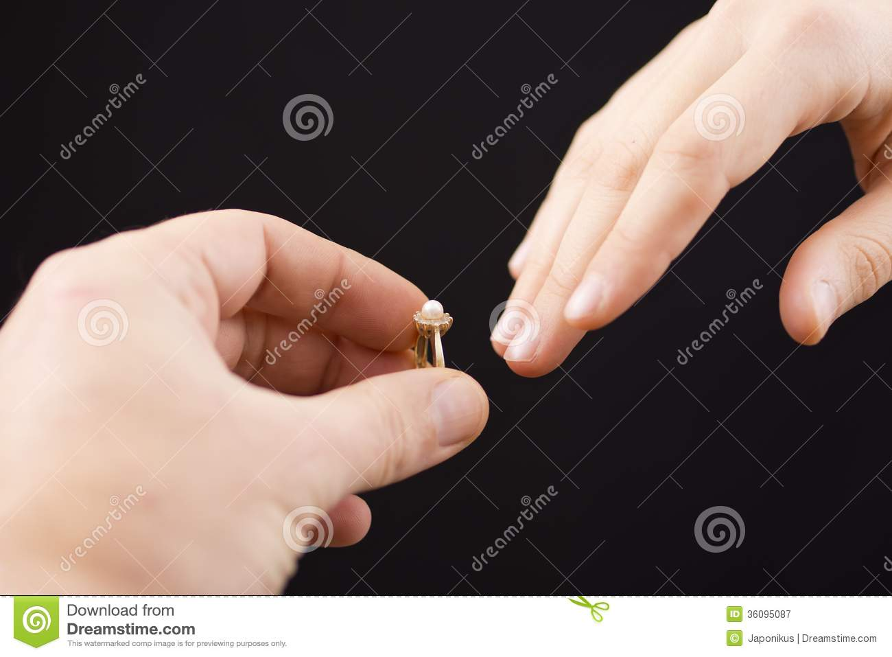 Putting A Ring On Girl\'s Hand Stock Image - Image: 36095087