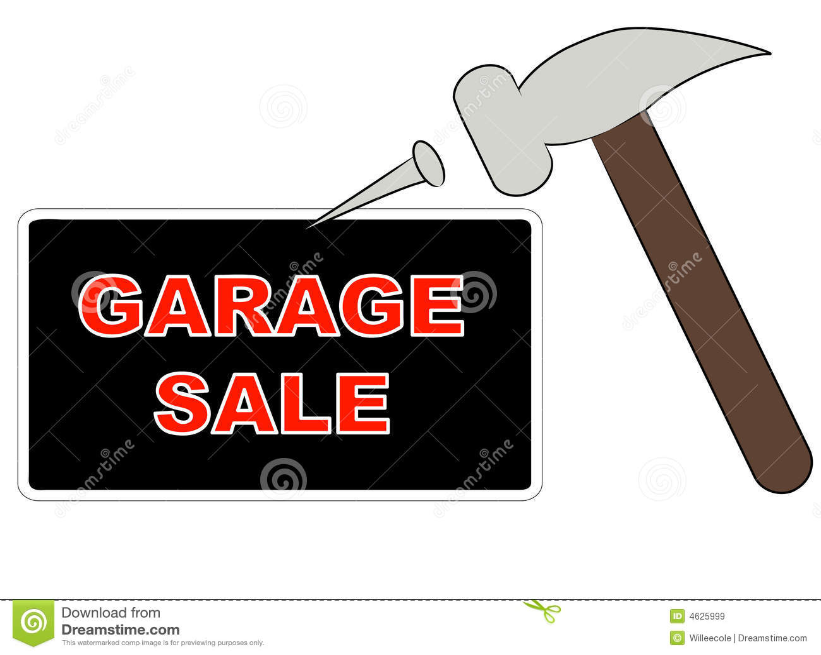putting up garage sale sign stock vector illustration of sign