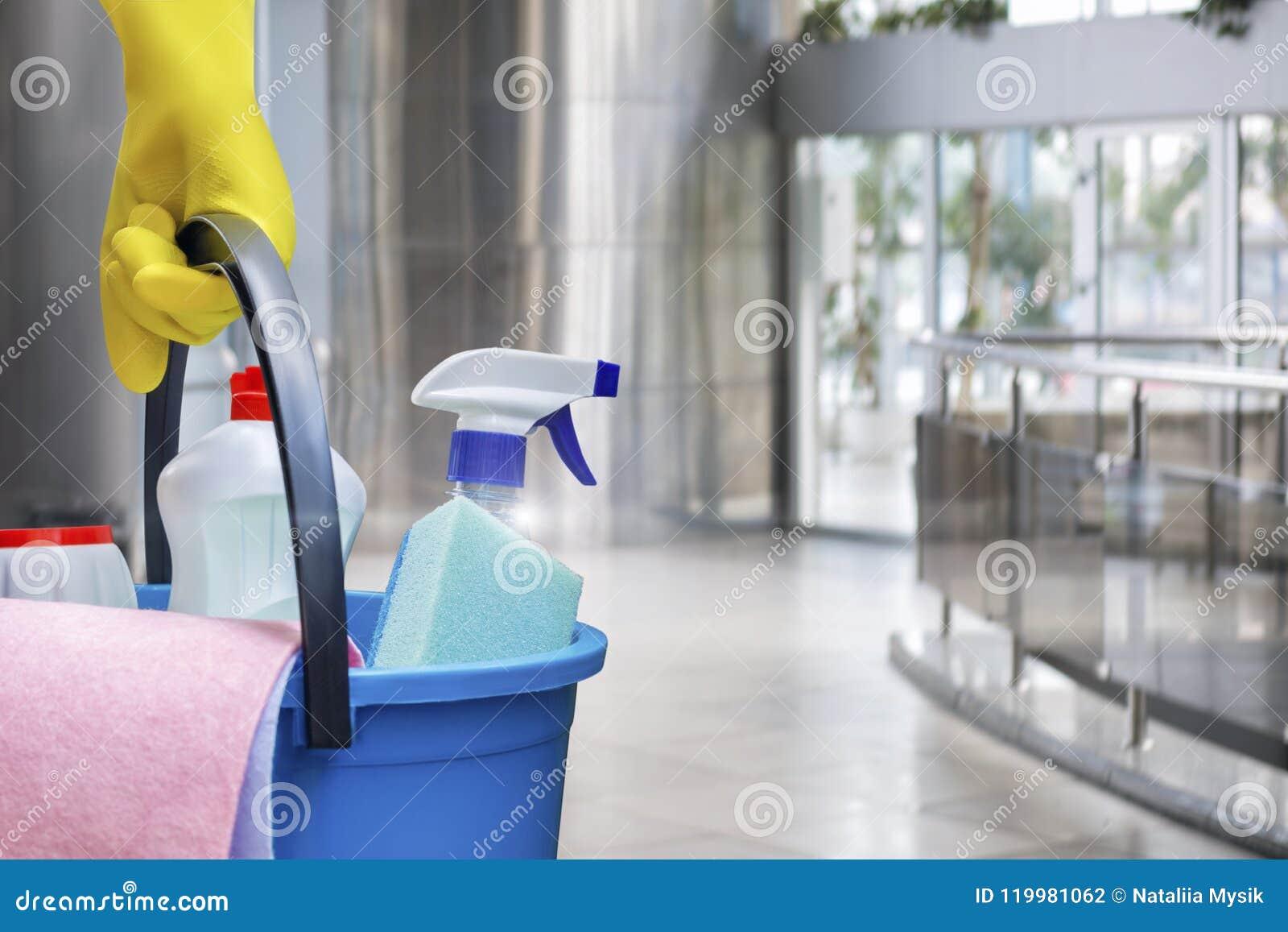 Putzfrau mit Produkten eines Eimers und der Reinigung