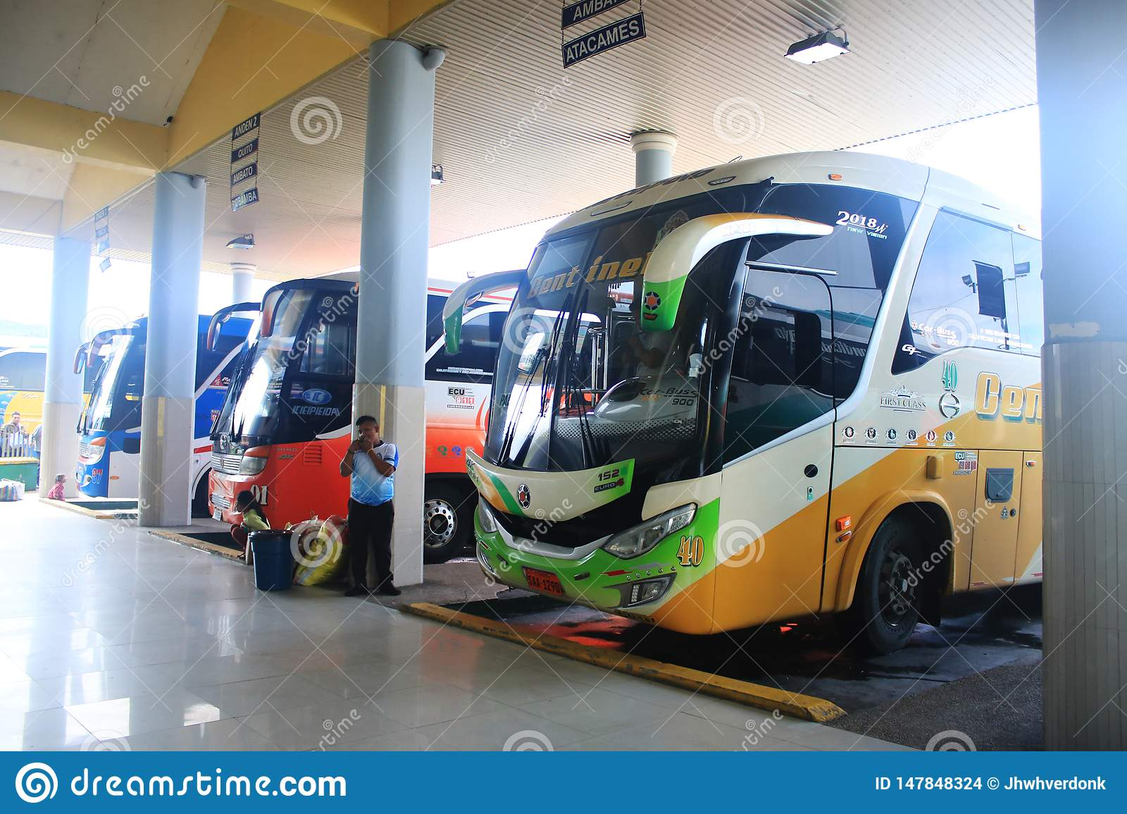 Puyo Ecuador 5 5 2019 Public Transport All Buses To Various Directions Lined Up Editorial Stock Image Image Of Street Public 147848324
