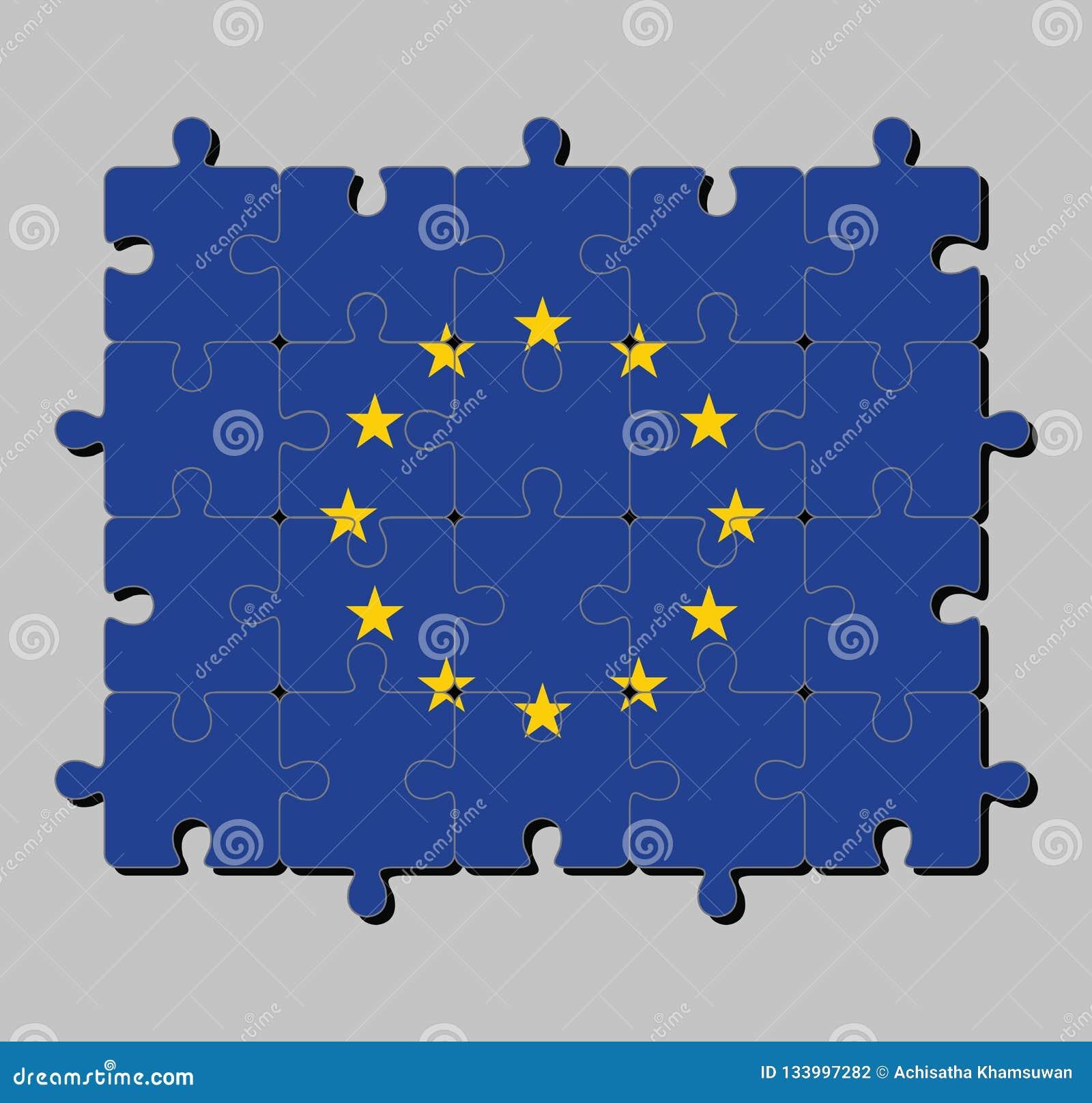 Puzzel van Europese Unie vlag in een cirkel van twaalf vijf-gerichte gele sterren op een blauw gebied