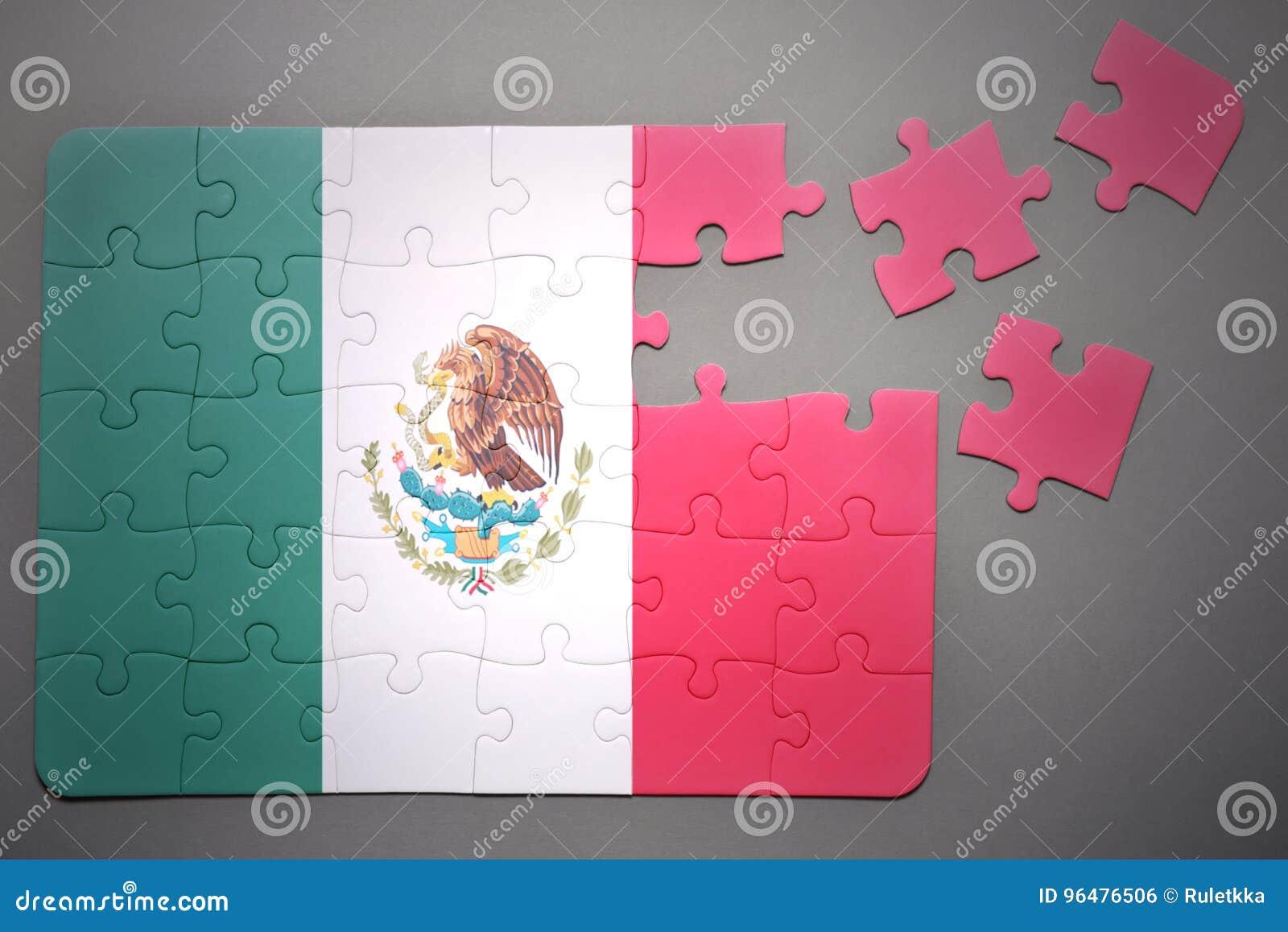 Puzzle avec le drapeau national du Mexique