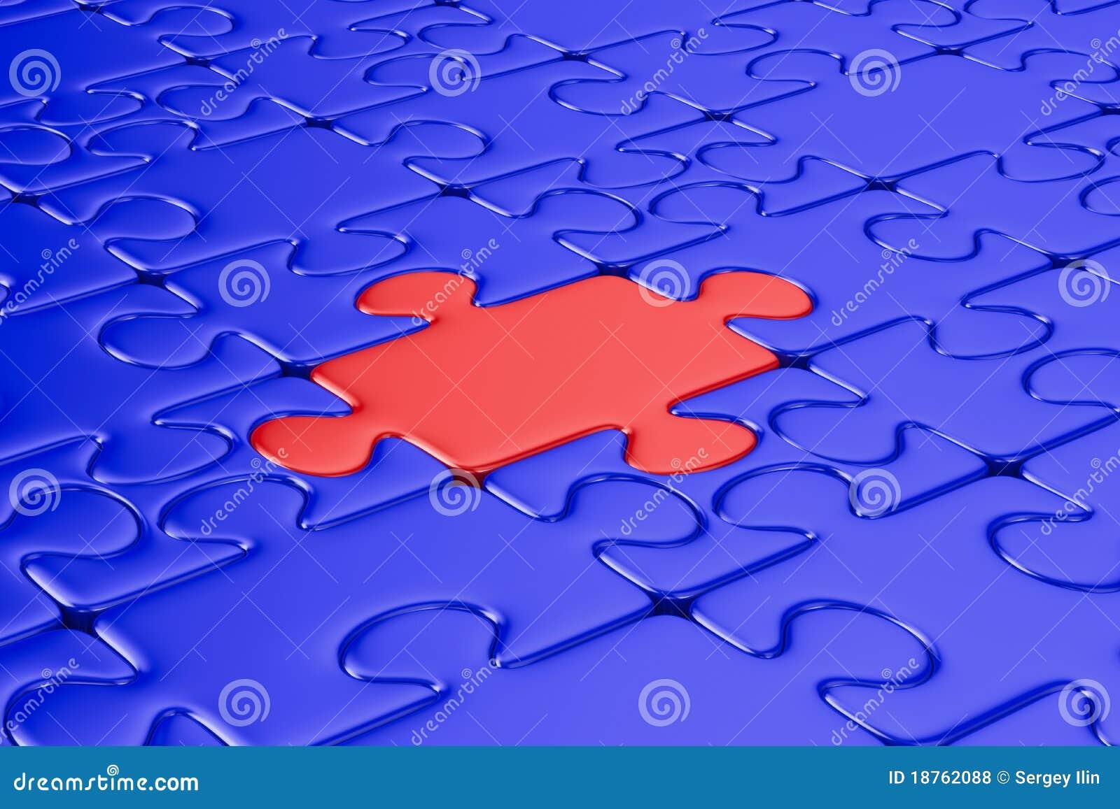 Puzzle blu ed un colore rosso 3d isolato fotografie stock - Collegamento stampabile un puzzle pix ...