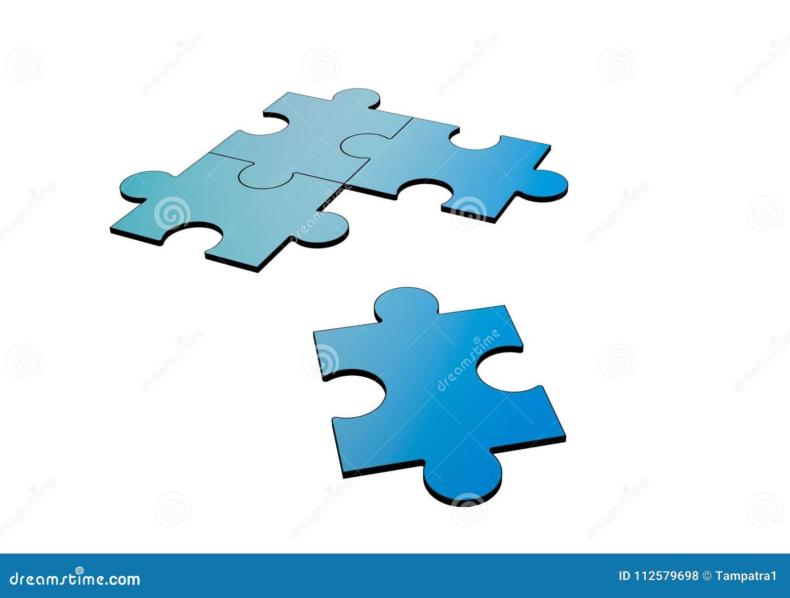 Puzzle blu interrotti e separati su bianco, 3d