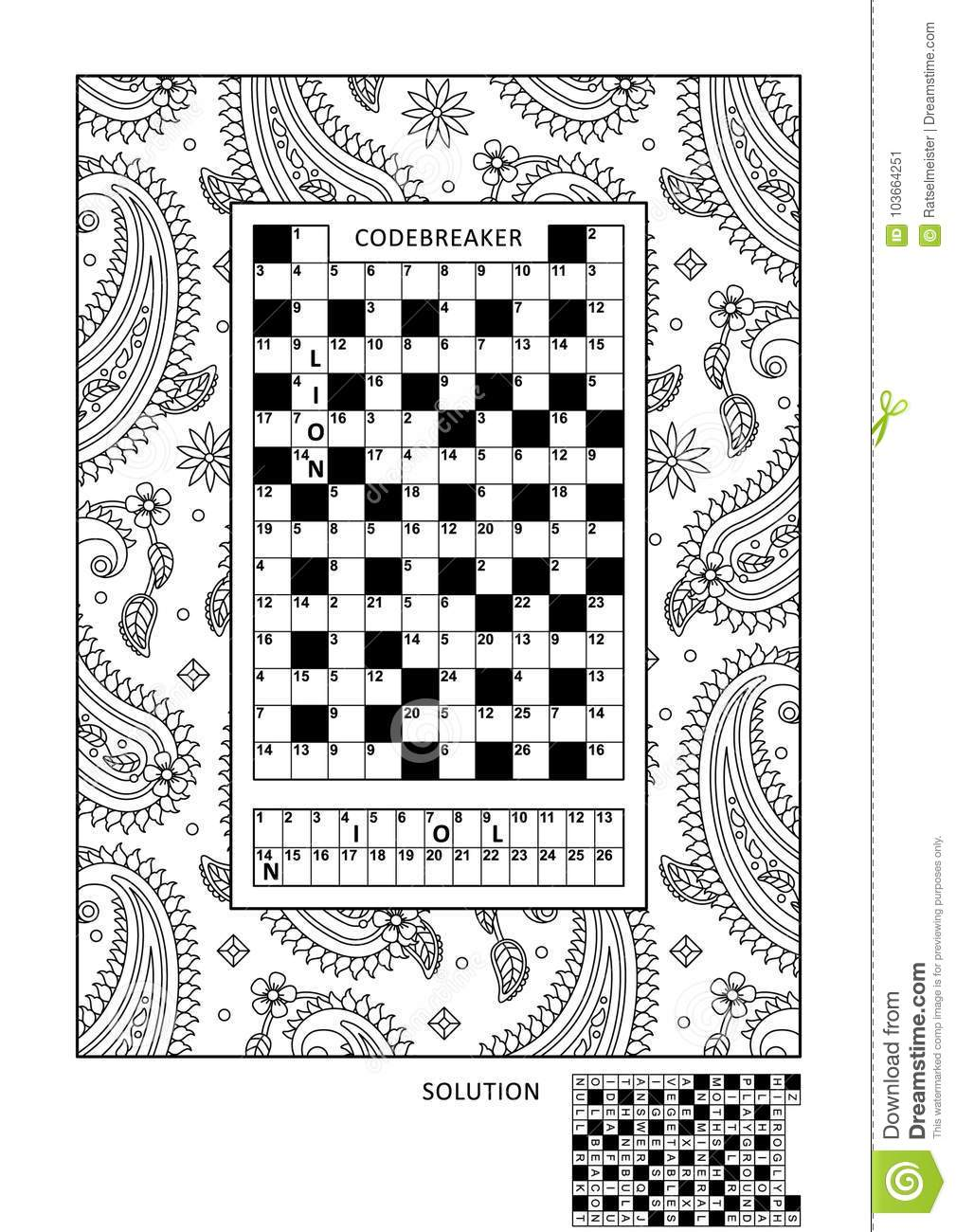 photograph relating to Codeword Puzzles Printable referred to as Puzzle And Coloring Recreation Site For Grown ups Inventory Vector
