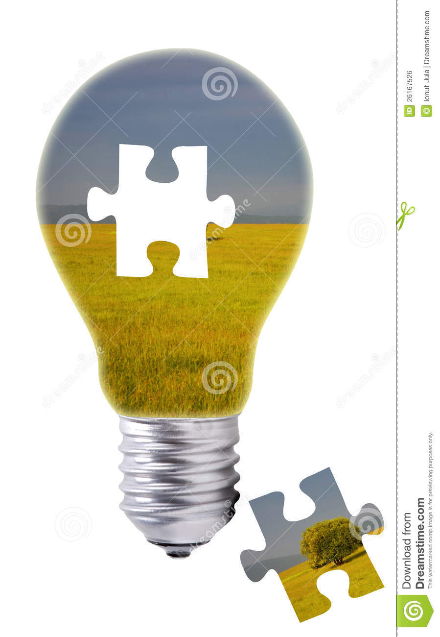 Puzzle concept of a light bulb and a missing piece
