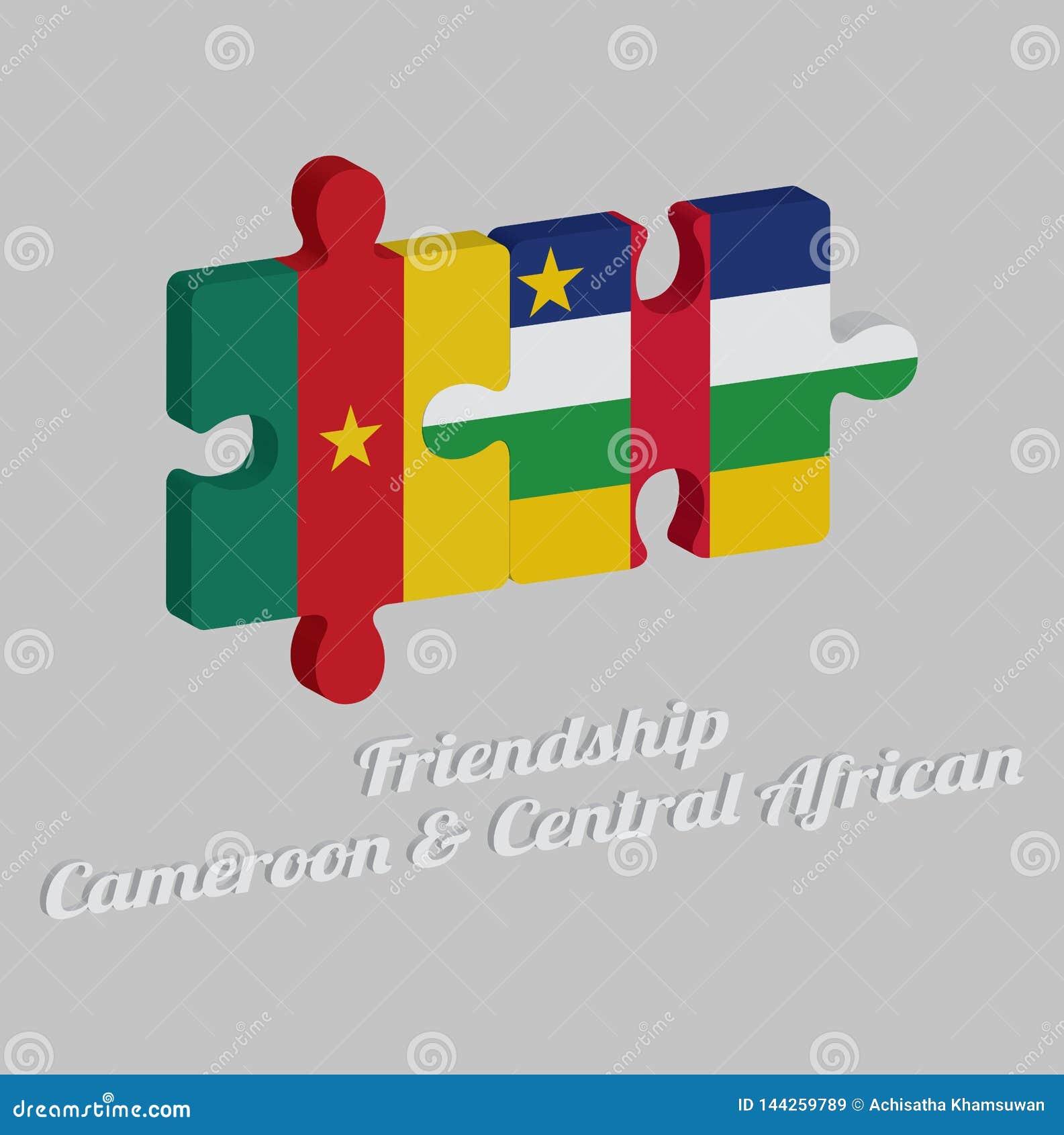Puzzle 3D della bandiera del Camerun e della bandiera centrafricana con testo: Amicizia Camerun & centrafricano Concetto di amich