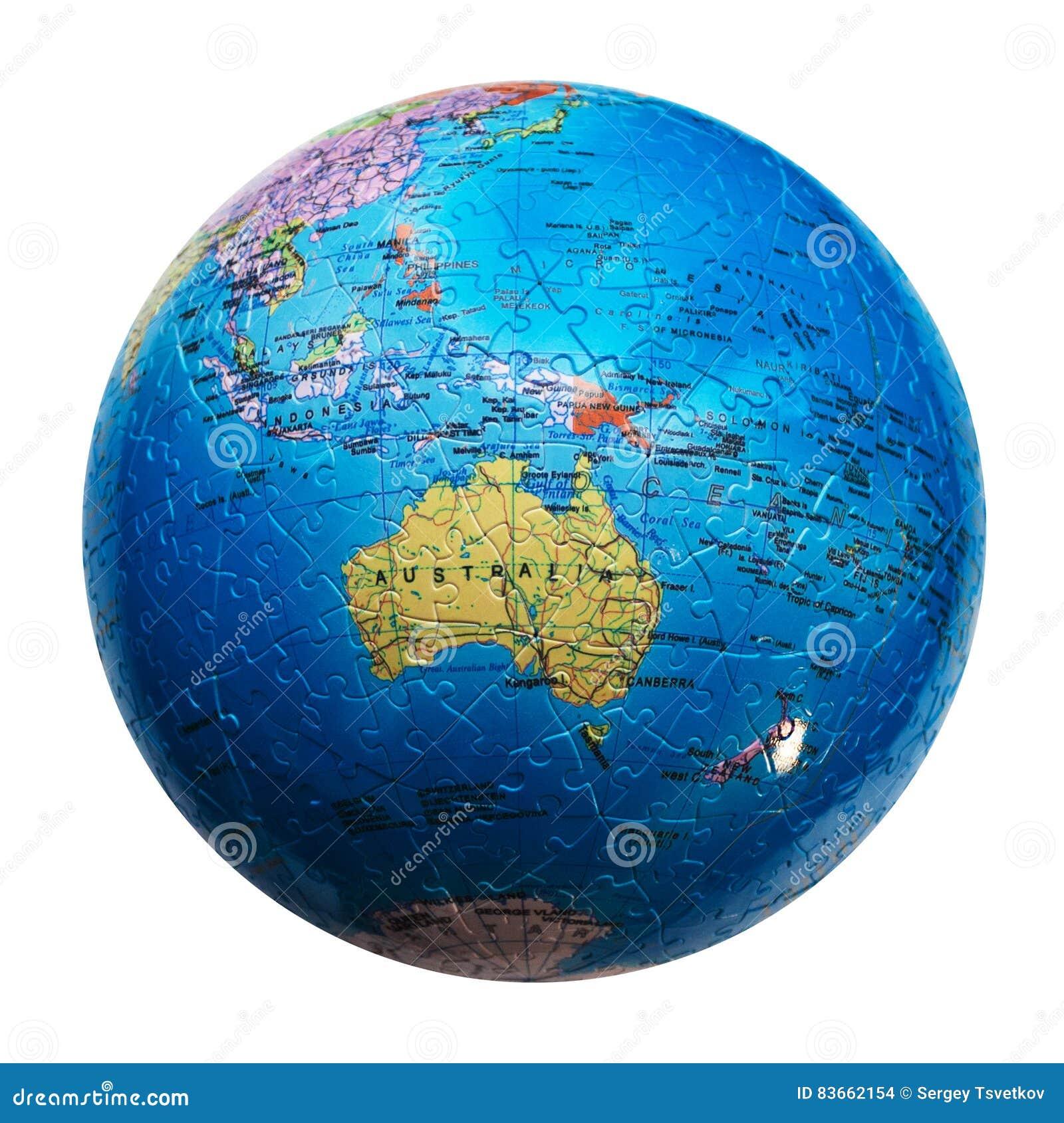 Puzzle del globo isolato Mappa dell Australia e di Oceania